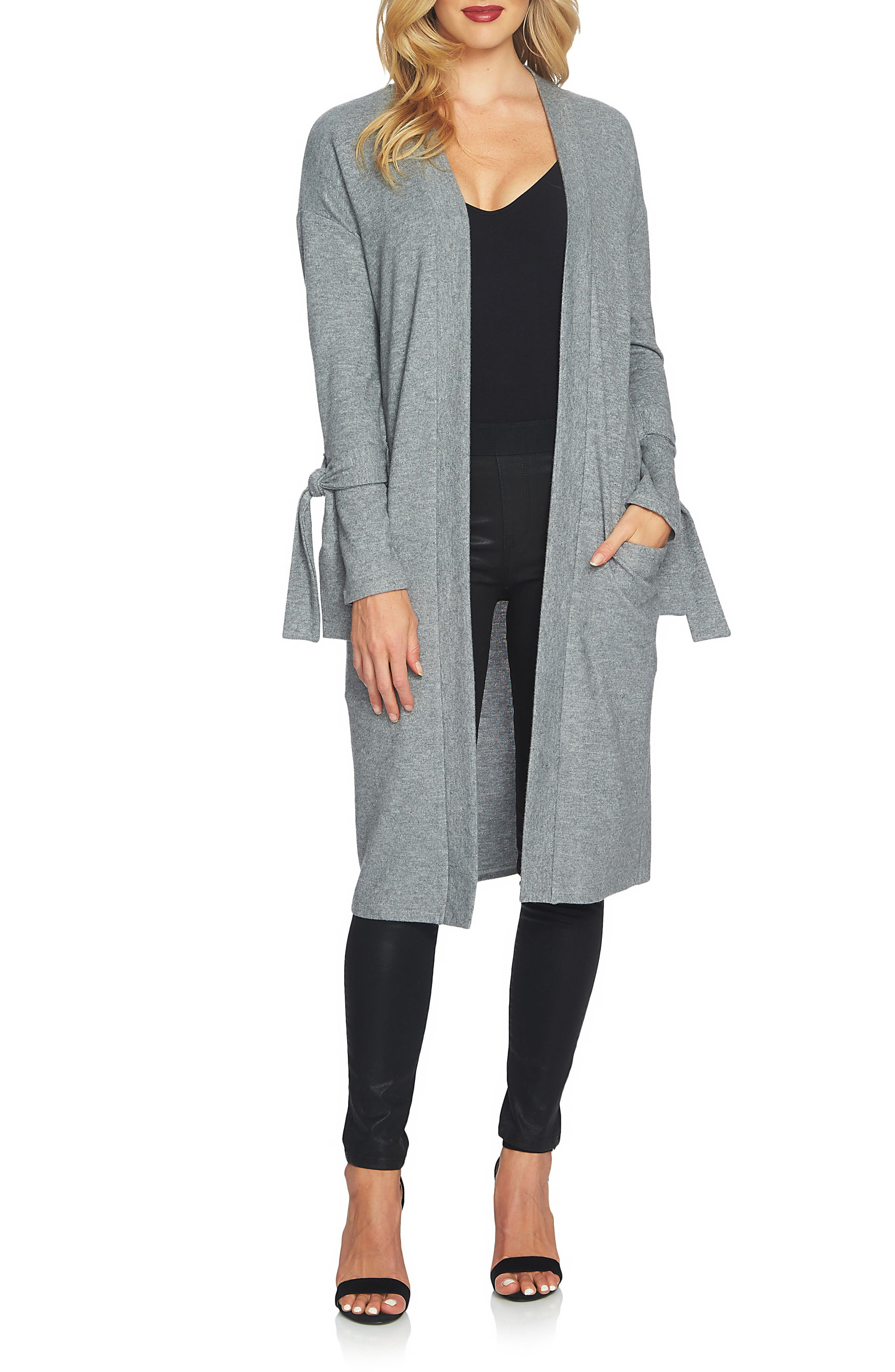 The Cozy Tie Sleeve Cardigan,                             Main thumbnail 1, color,                             Pewter Heather