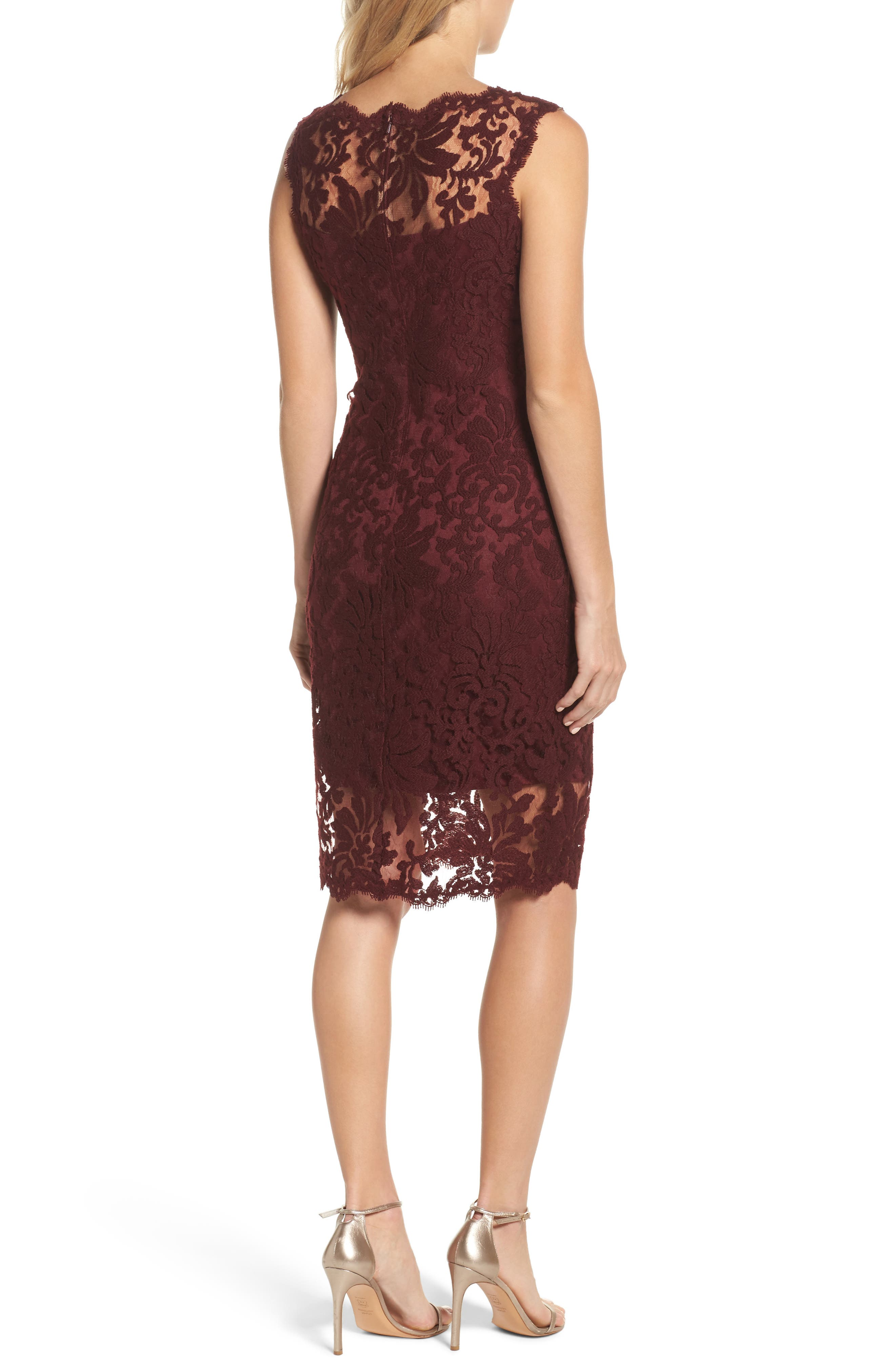 Embroidered Lace Sheath Dress,                             Alternate thumbnail 2, color,                             Auburn