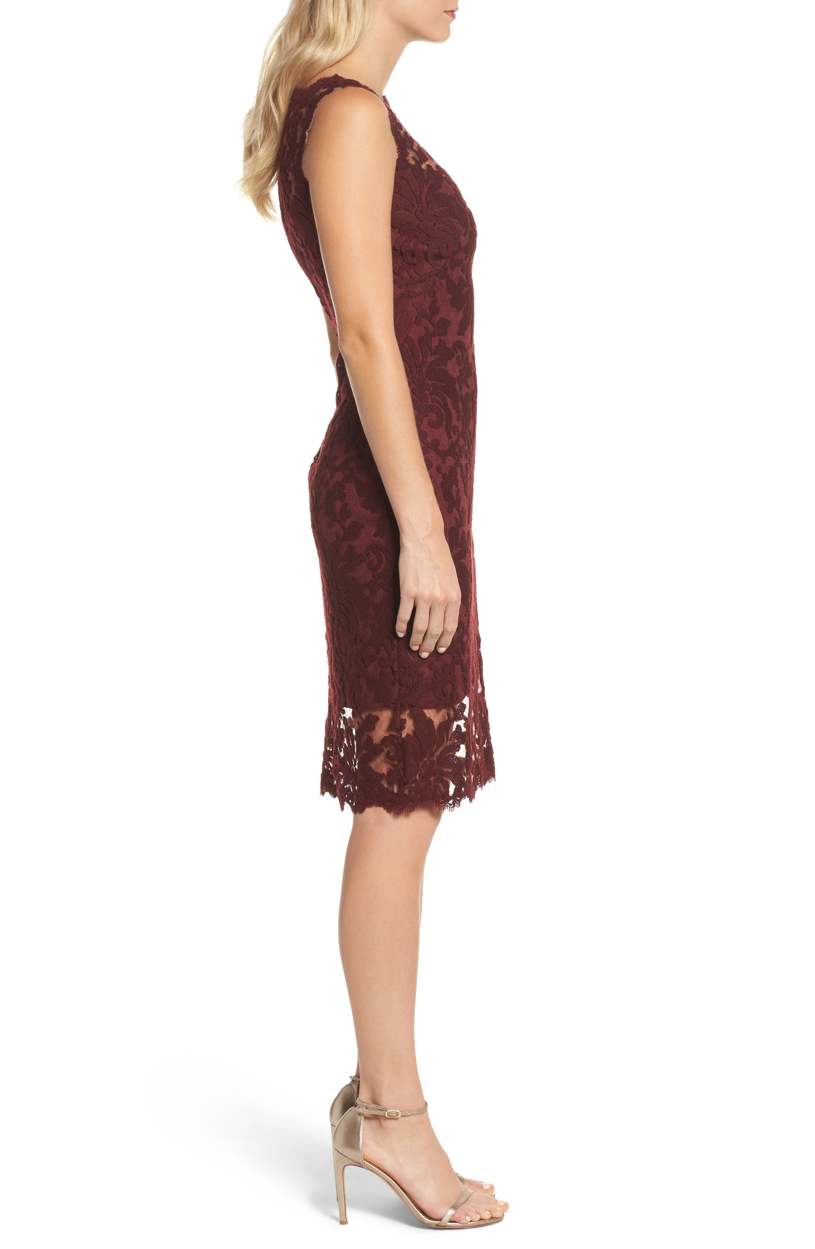 Embroidered Lace Sheath Dress,                             Alternate thumbnail 3, color,                             Auburn