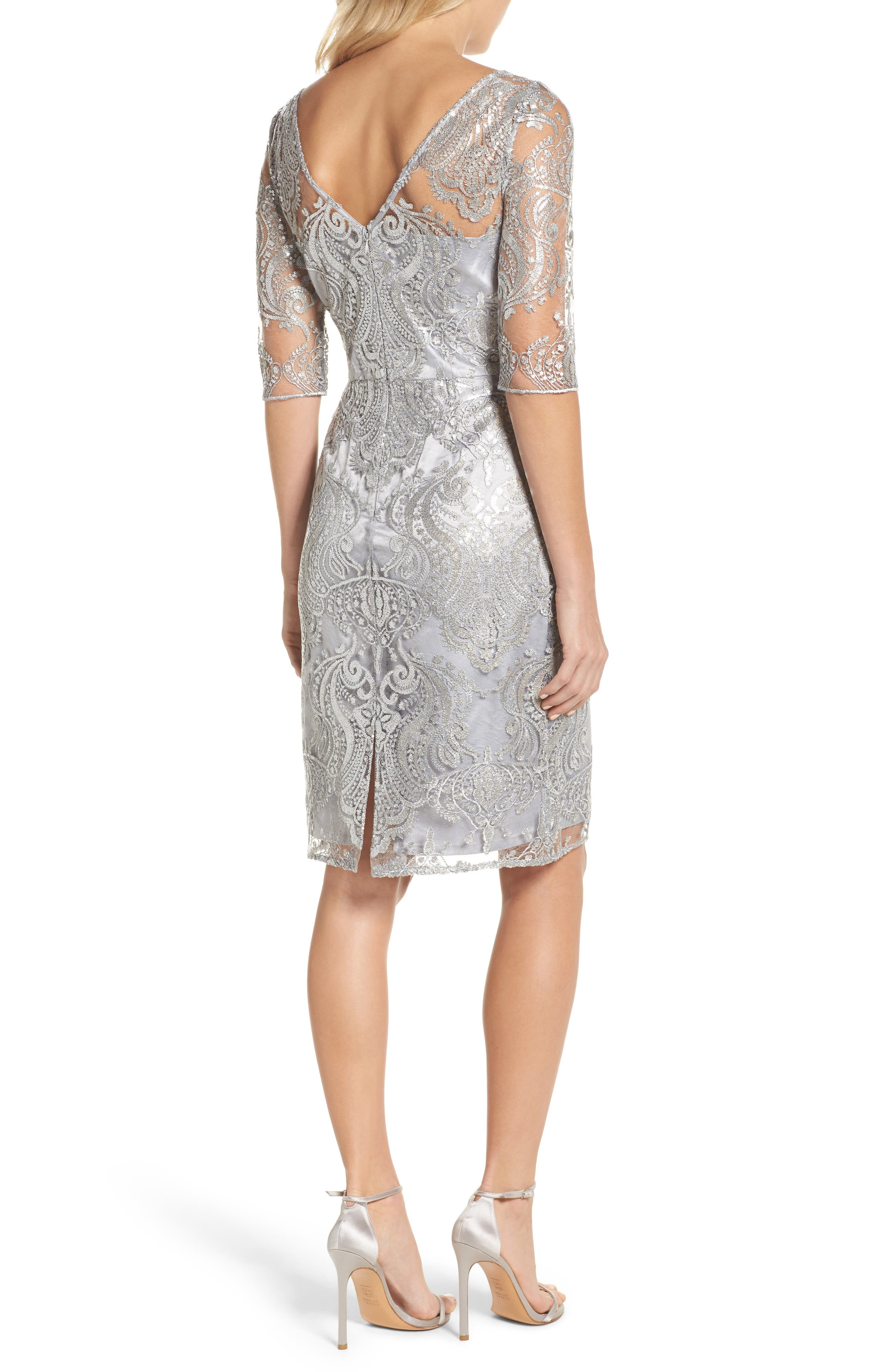 Sequin Illusion Sheath Dress,                             Alternate thumbnail 2, color,                             Silver