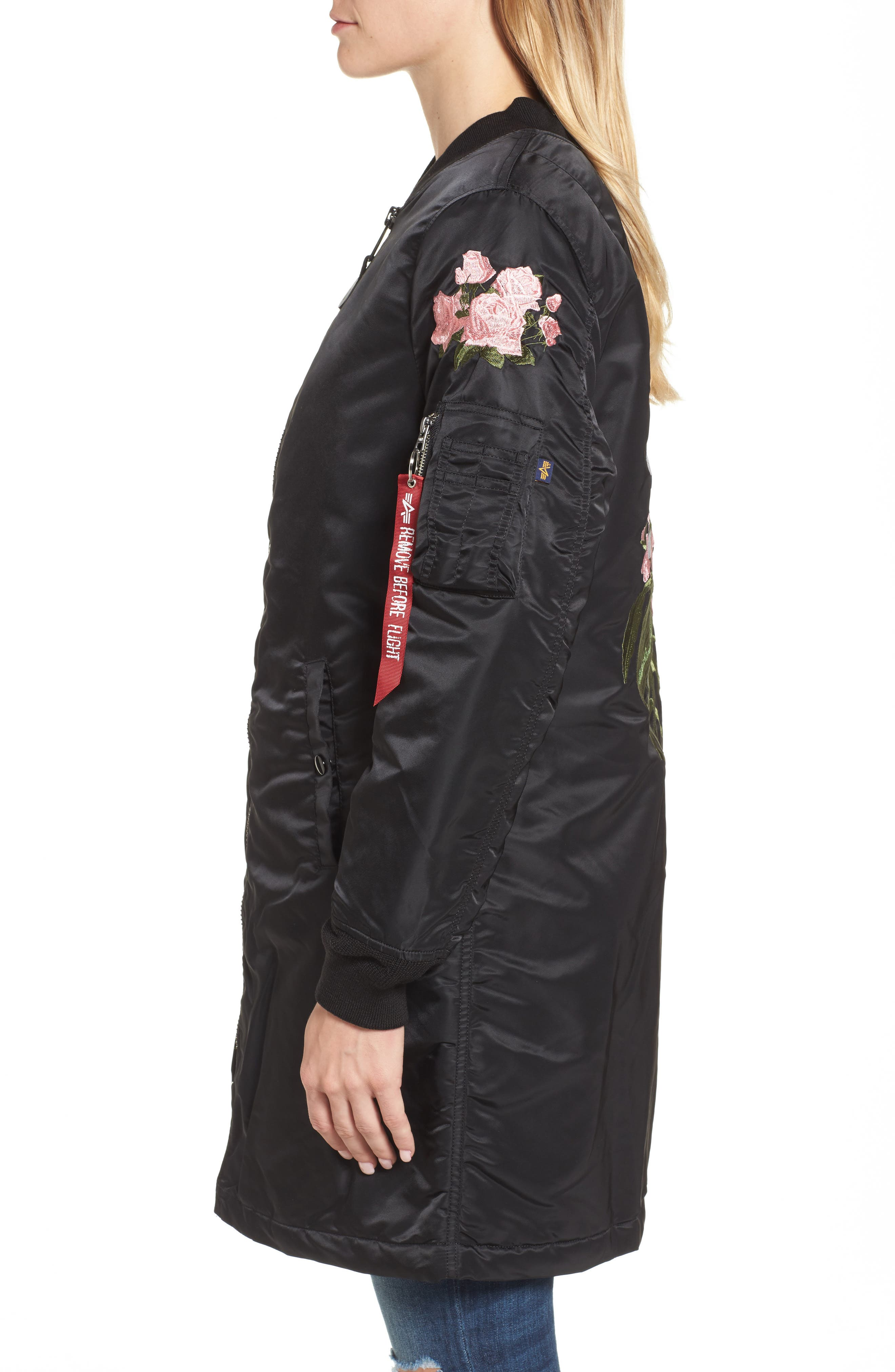 Long Souvenir Illusion MA-1 Jacket,                             Alternate thumbnail 3, color,                             Black