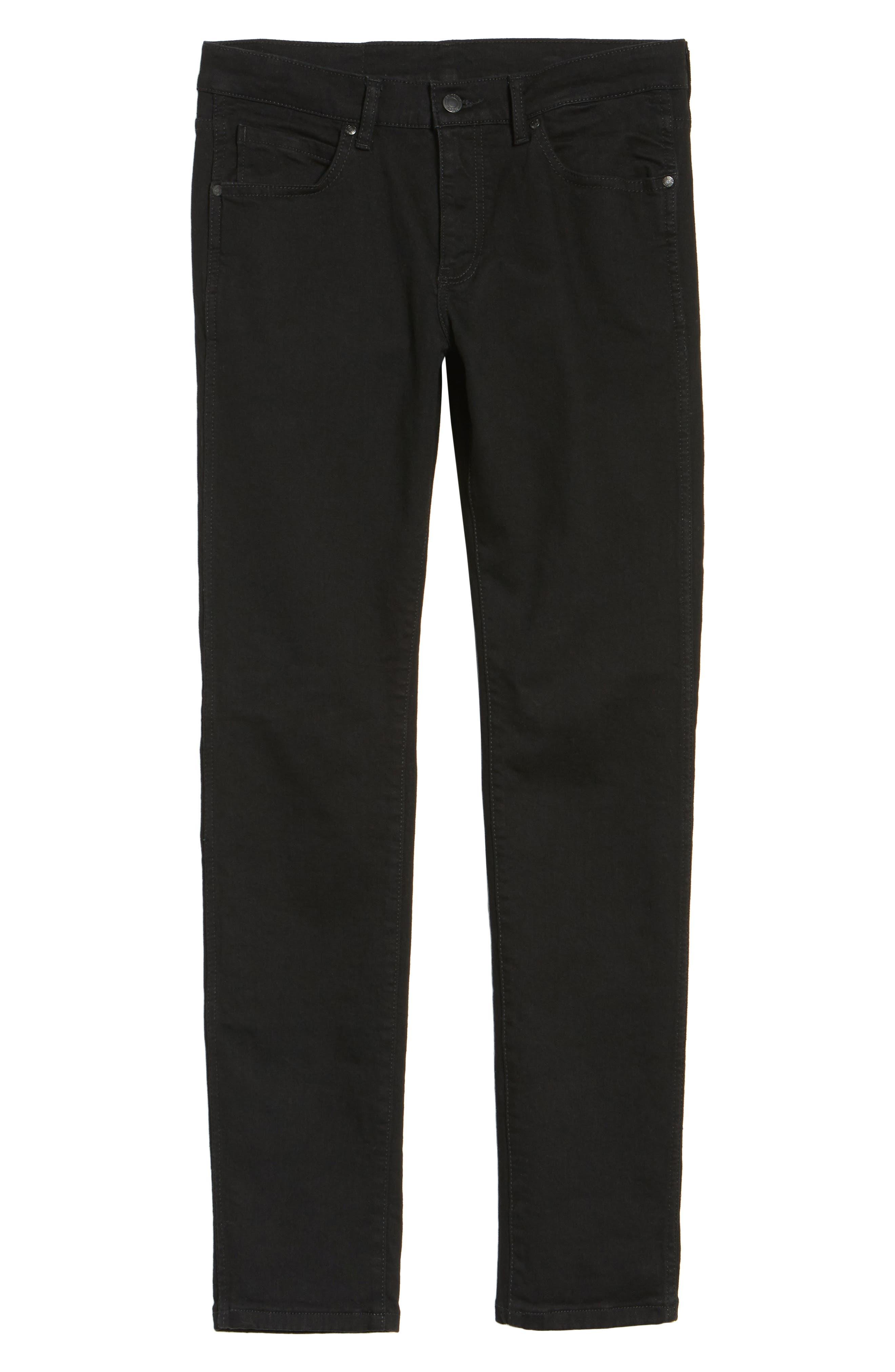 Snap Skinny Fit Jeans,                             Alternate thumbnail 6, color,                             Organic Black