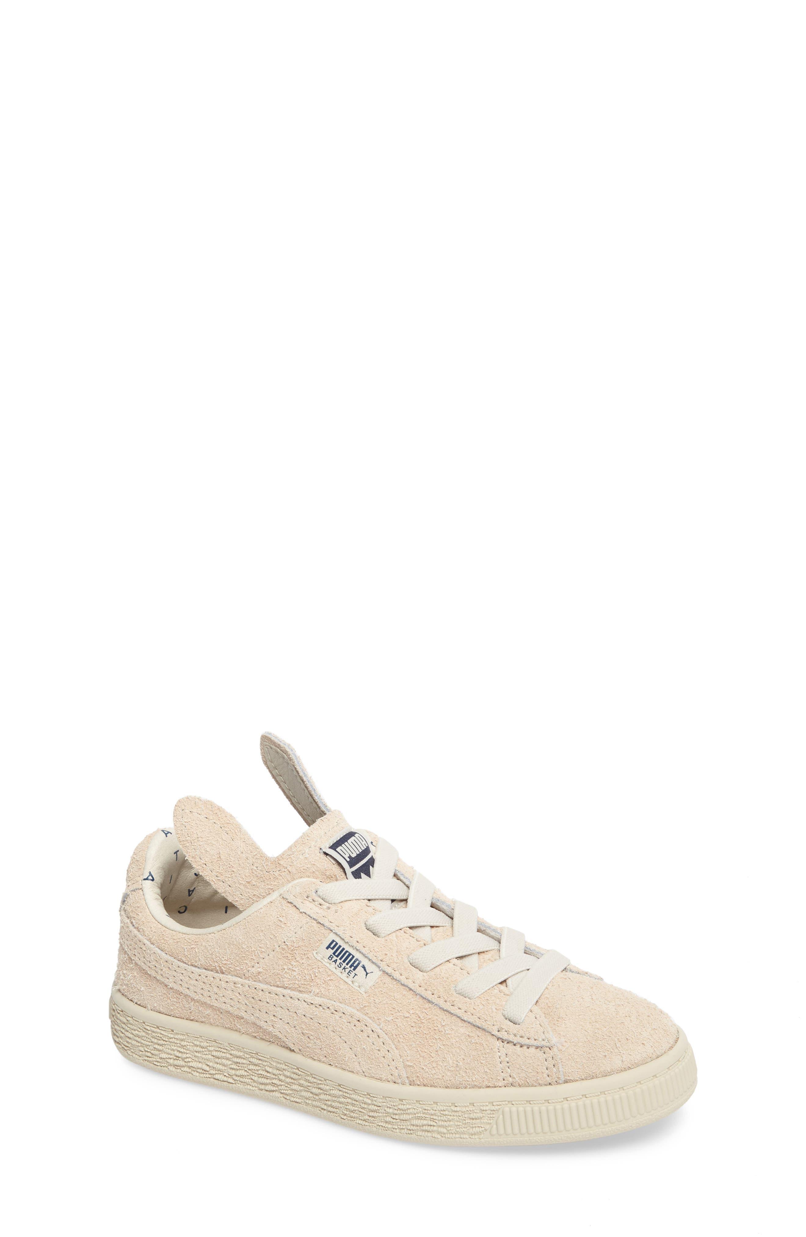 x tinycottons Basket Furry Sneaker,                             Main thumbnail 1, color,                             Birch/ Dress Blues
