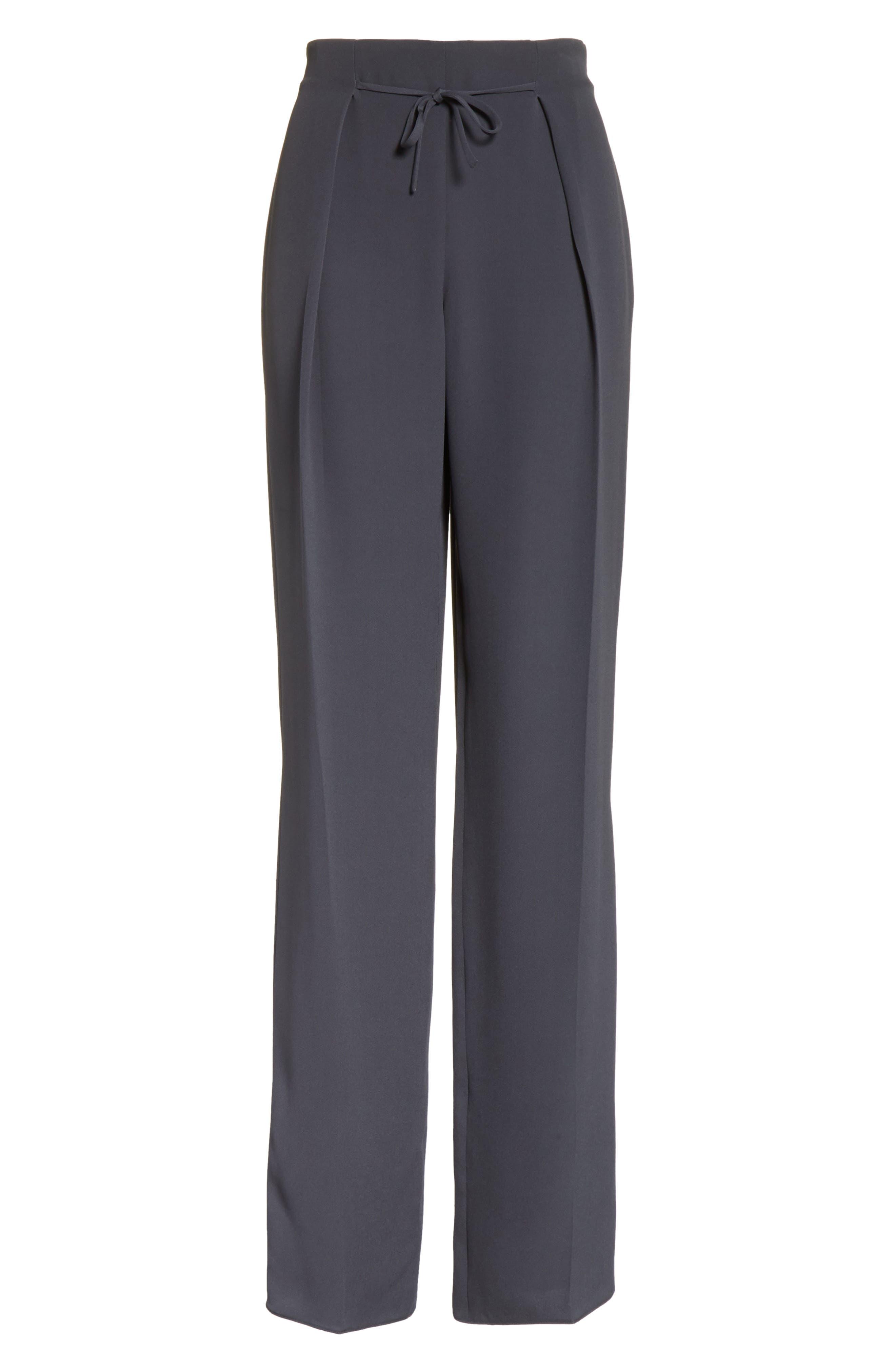 Tie Front Silk Pants,                             Alternate thumbnail 6, color,                             Abisso