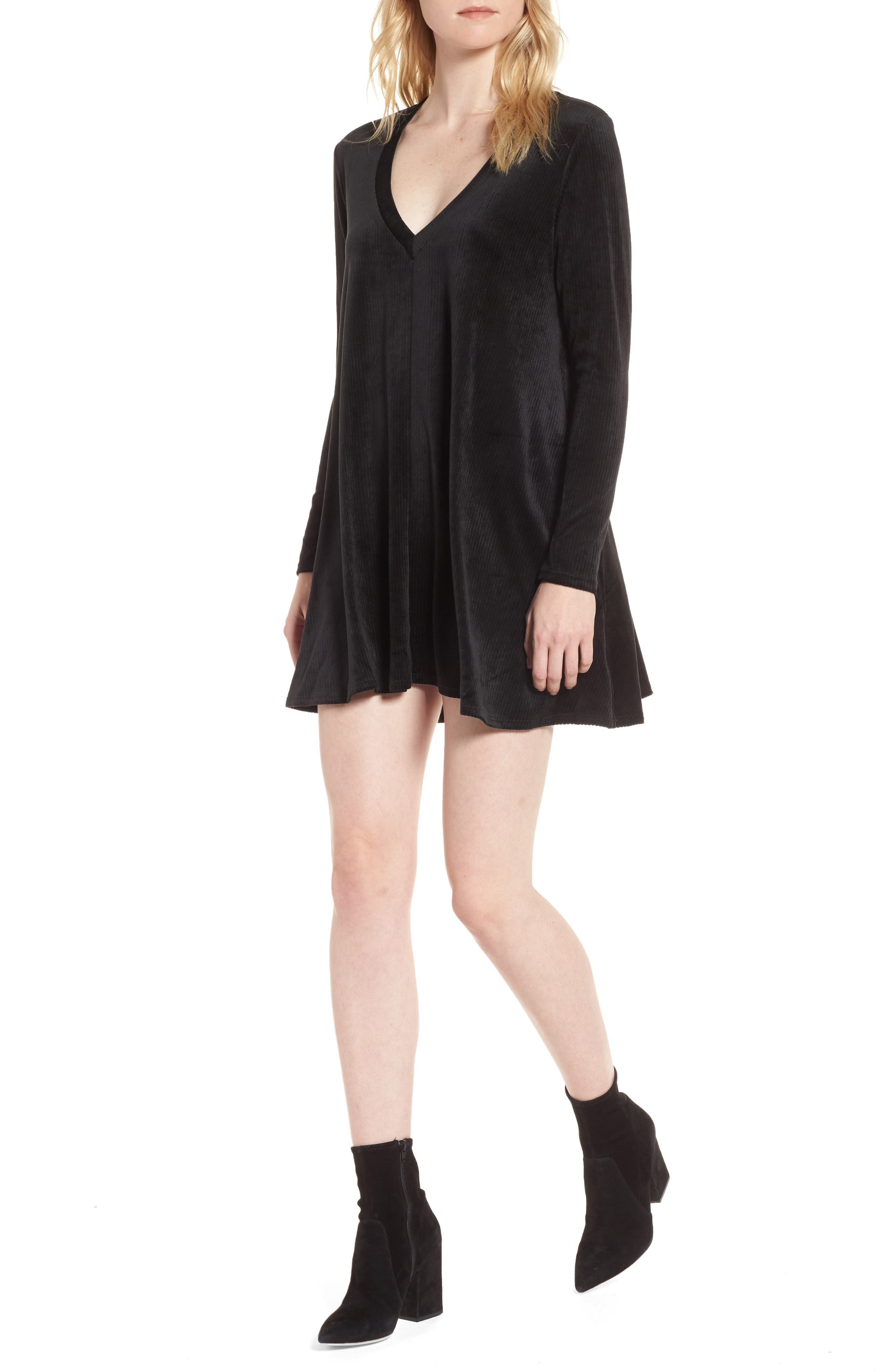 Hannah Velvet Shift Dress,                         Main,                         color, Black
