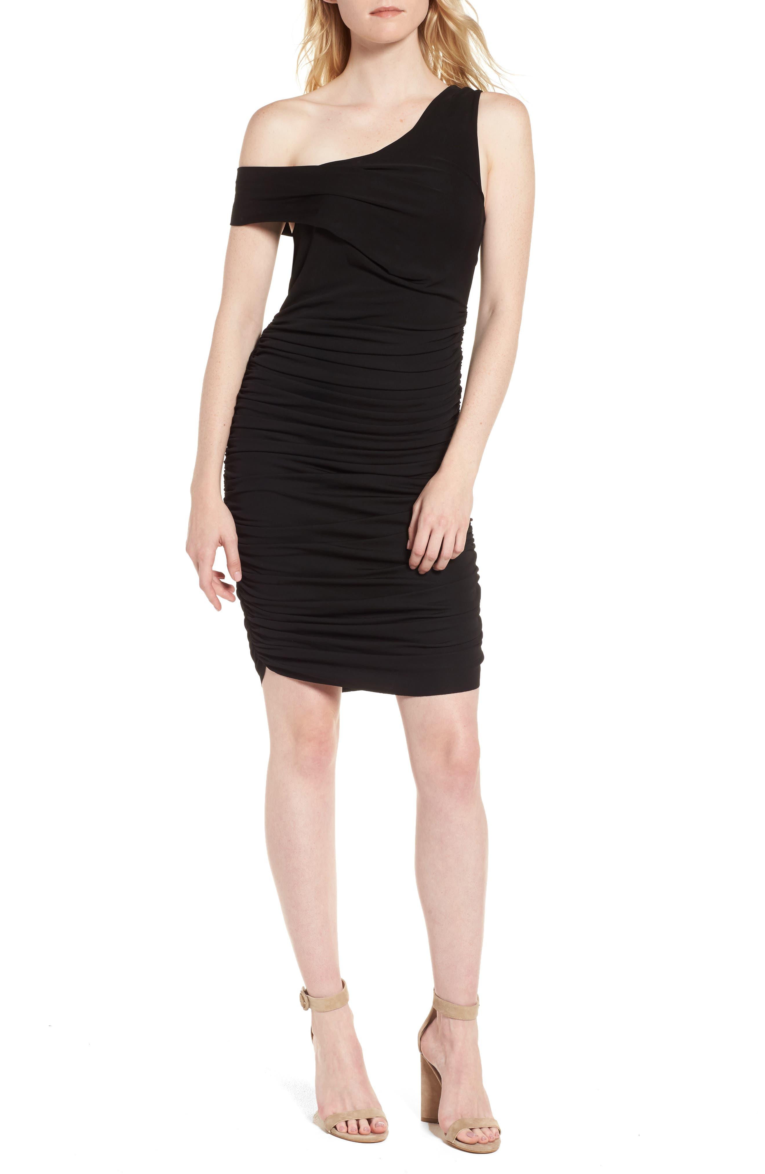 Off the Shoulder Twist Dress,                             Main thumbnail 1, color,                             Black