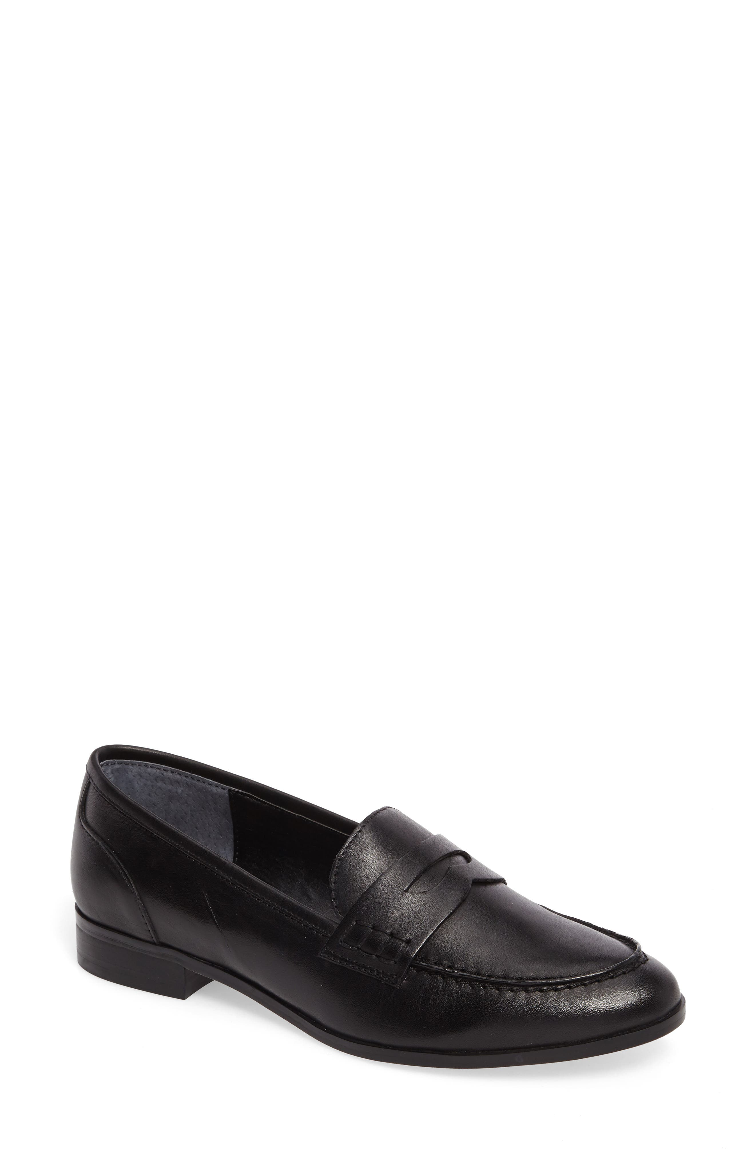 Georgie Penny Loafer,                         Main,                         color, Black Leather