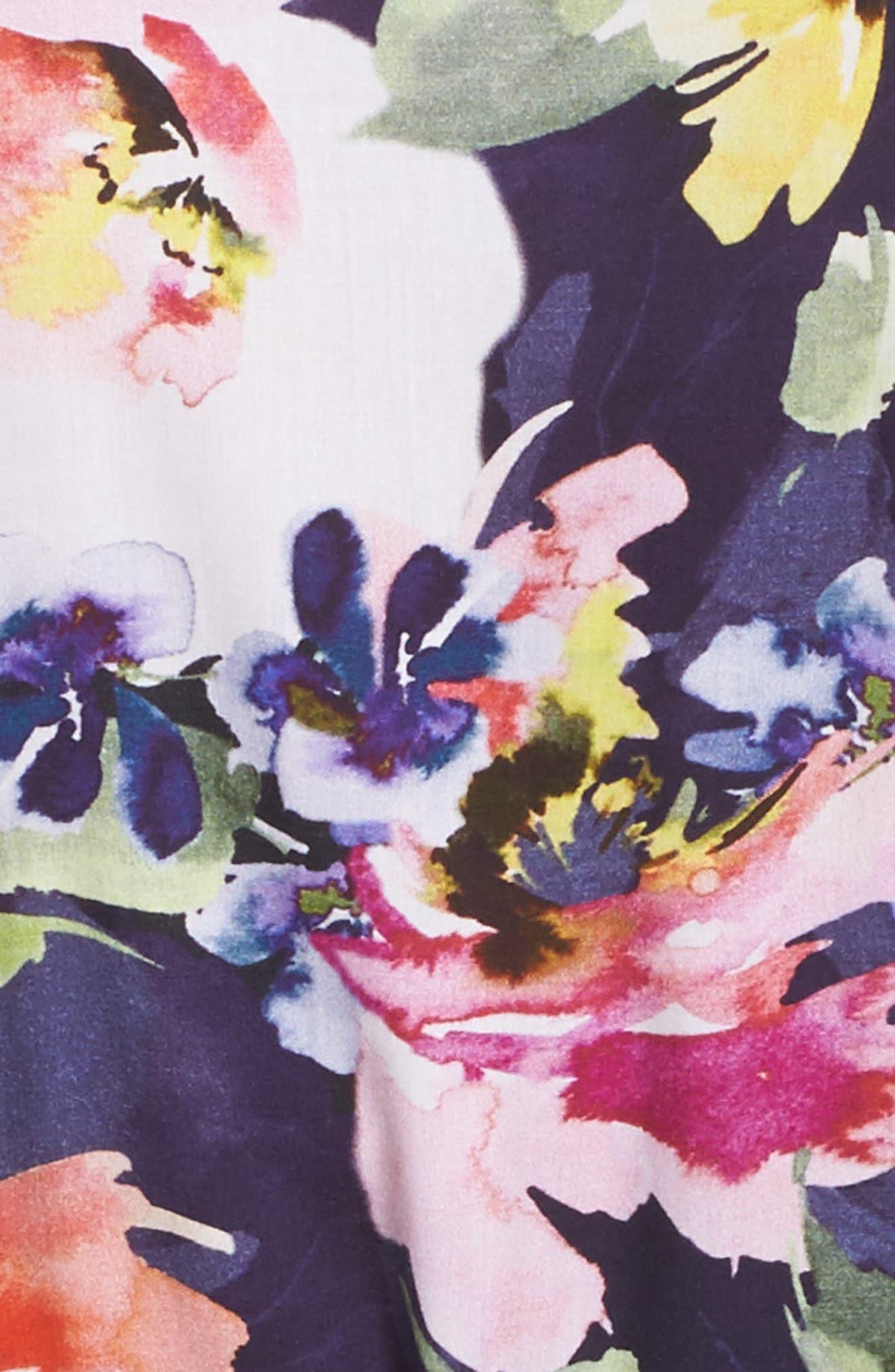 Long Floral Kimono Robe,                             Alternate thumbnail 5, color,                             Zephyr