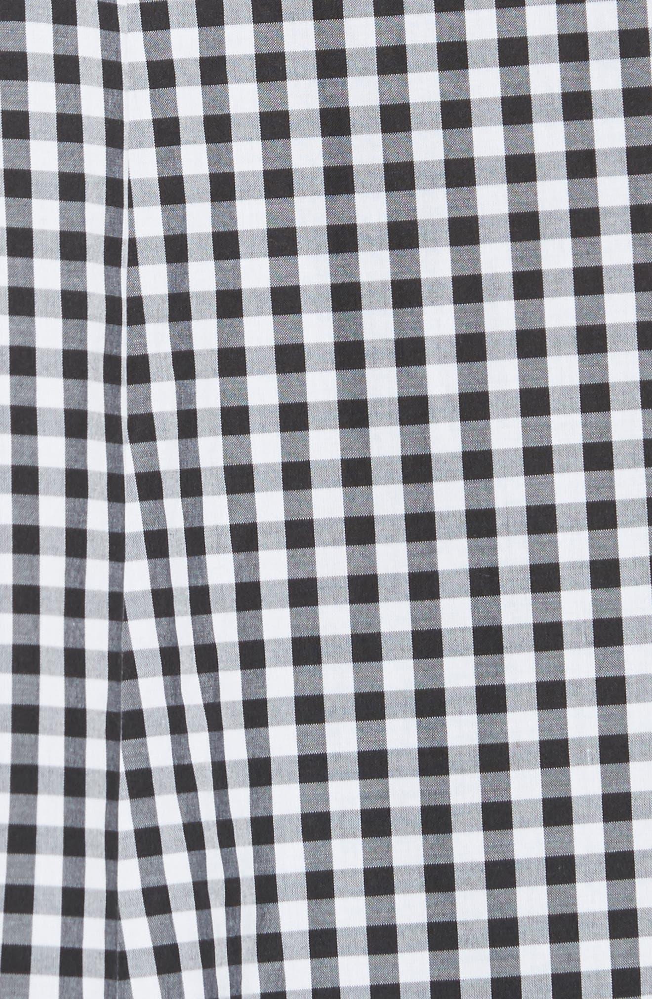 Beaded Smock Front Shirt,                             Alternate thumbnail 5, color,                             Black White Black