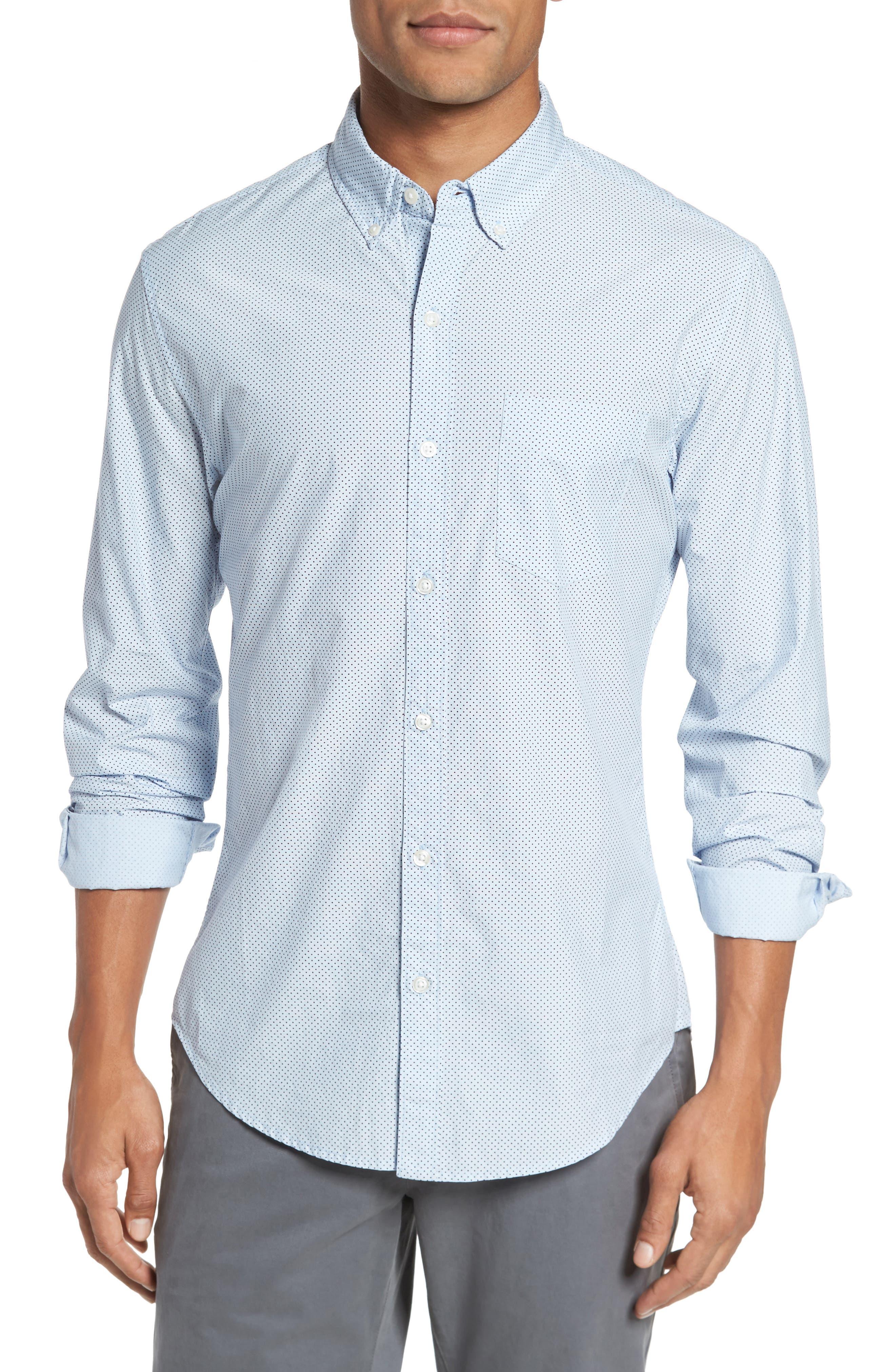 Slim Fit Dot Print Sport Shirt,                             Main thumbnail 1, color,                             Cannes Blue Fine Dots