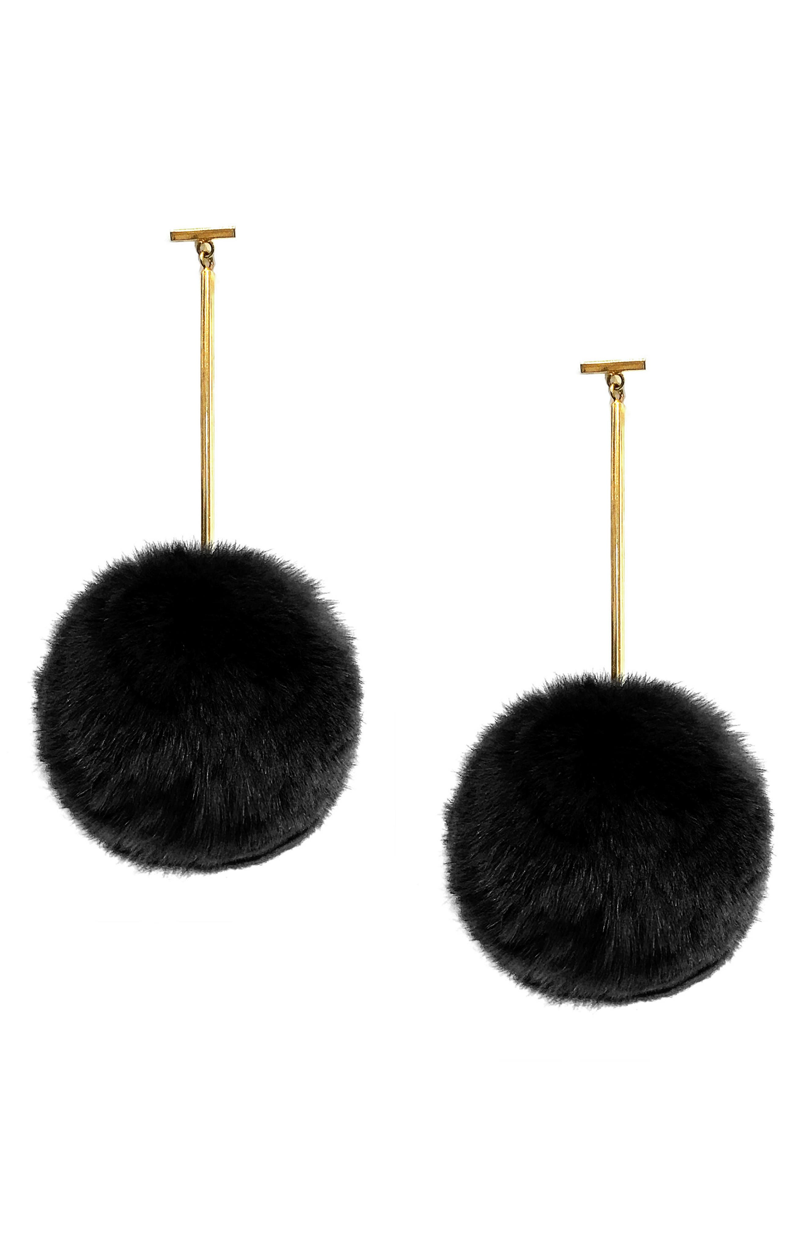 Genuine Rabbit Fur Pompom Drop Earrings,                             Main thumbnail 1, color,                             Gold/ Black