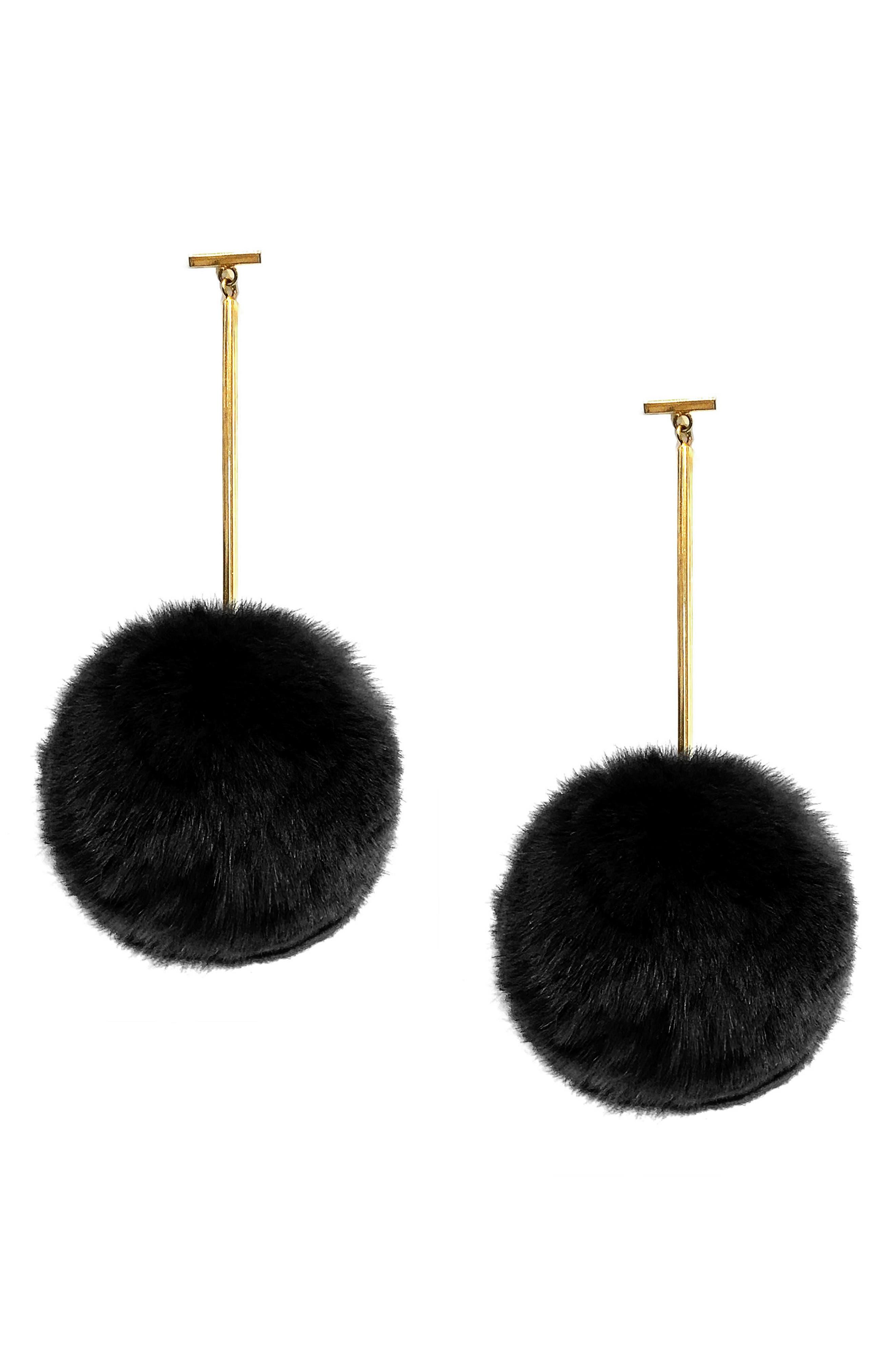 Genuine Rabbit Fur Pompom Drop Earrings,                         Main,                         color, Gold/ Black