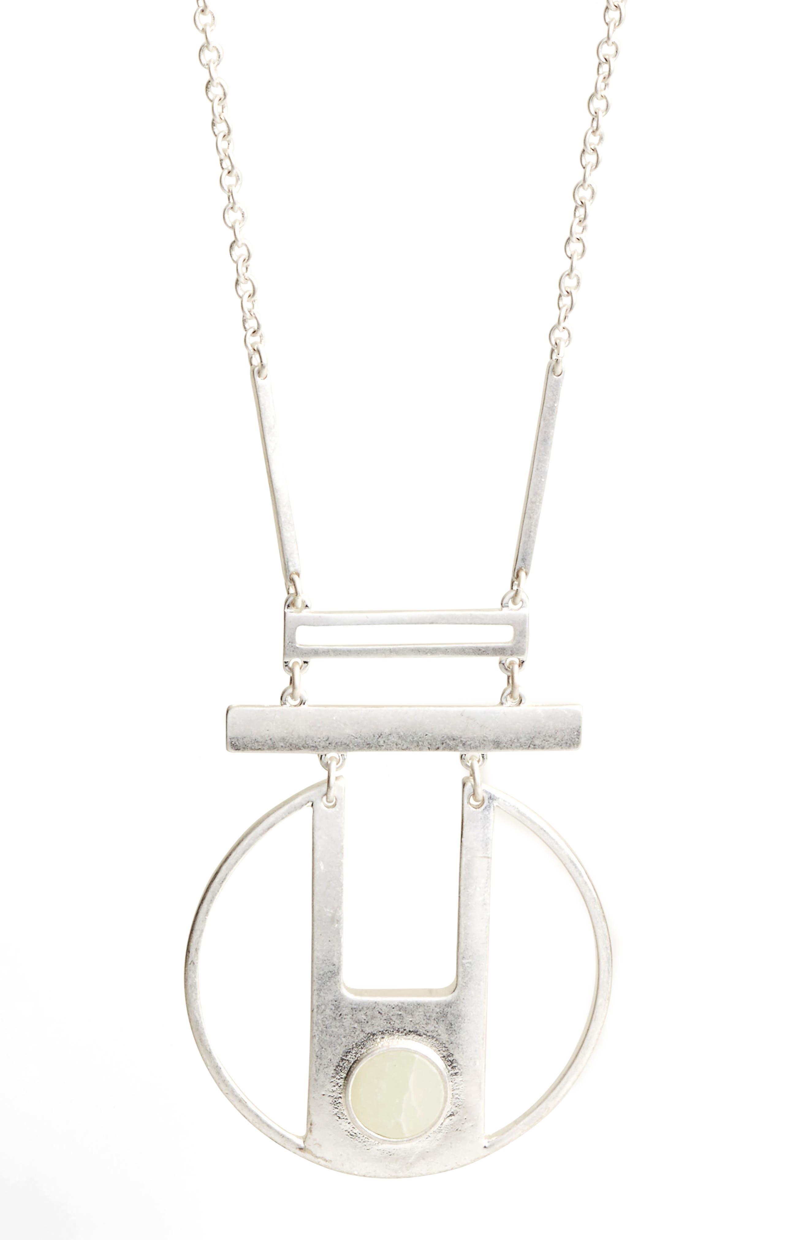 Opal Pendant Necklace,                             Alternate thumbnail 2, color,                             Silver