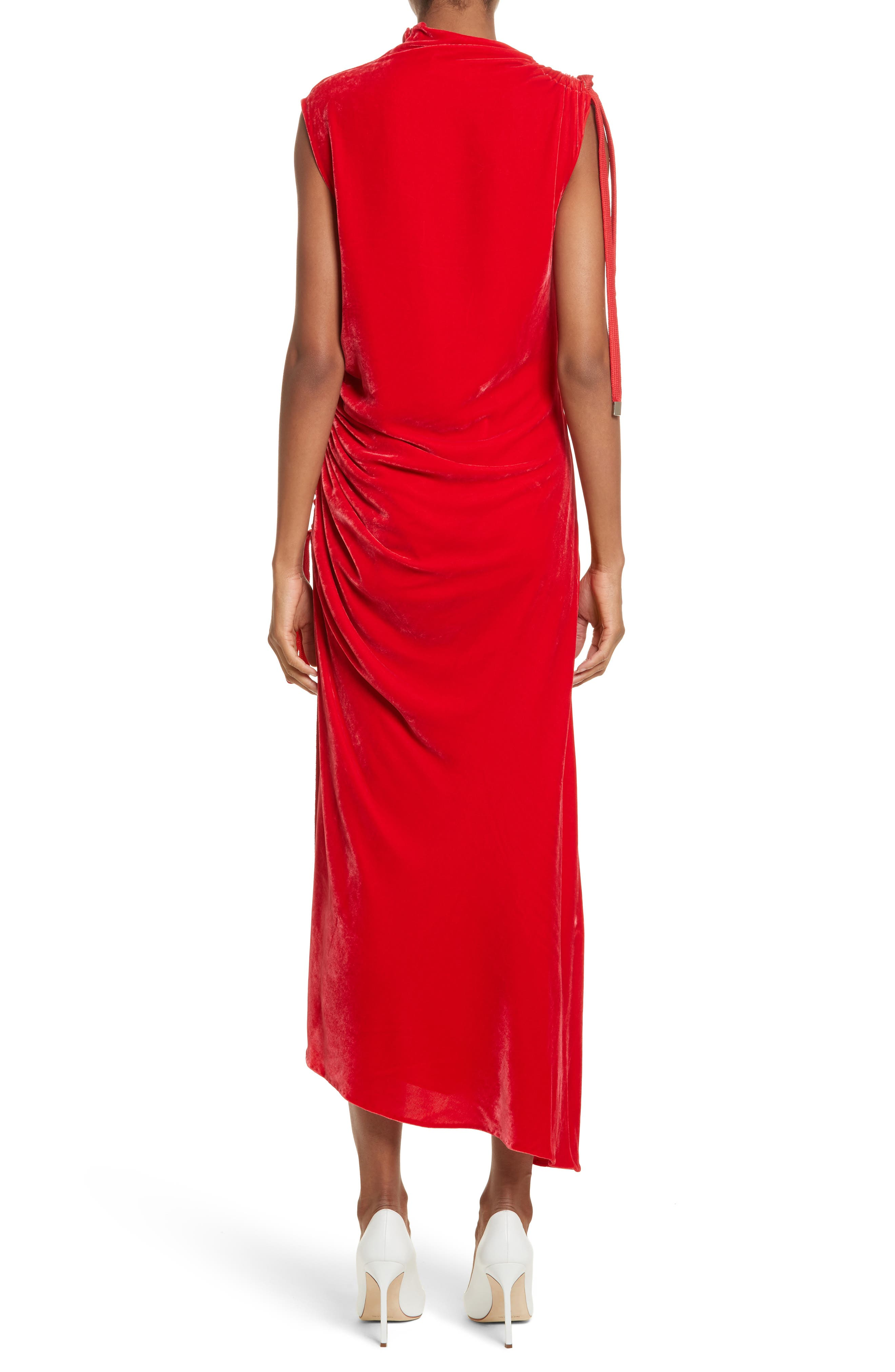 Drawstring Velvet Dress,                             Alternate thumbnail 2, color,                             Red