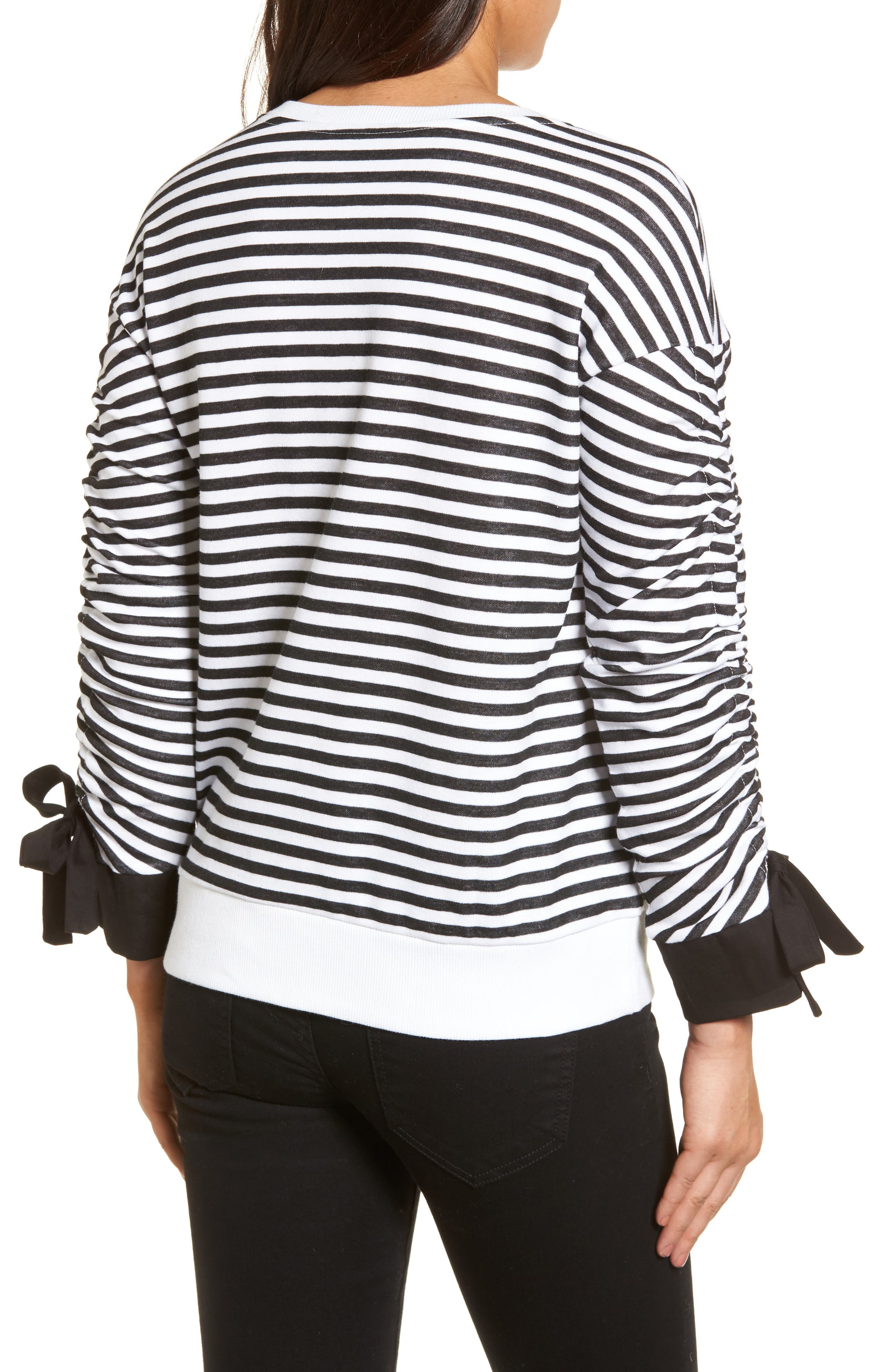 Ruched Sleeve Poplin Trim Sweatshirt,                             Alternate thumbnail 2, color,                             Black- White Stripe