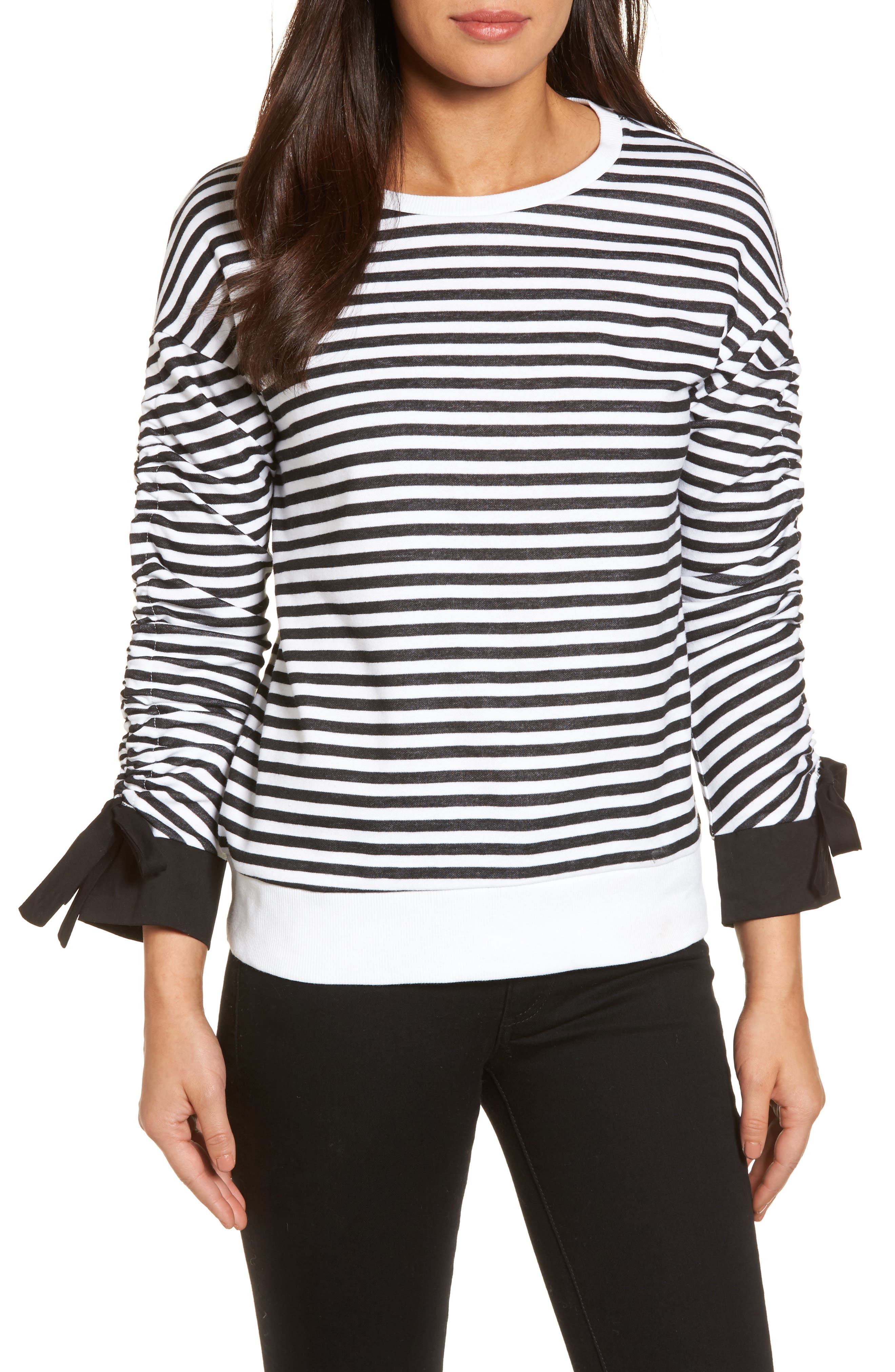 Ruched Sleeve Poplin Trim Sweatshirt,                             Main thumbnail 1, color,                             Black- White Stripe