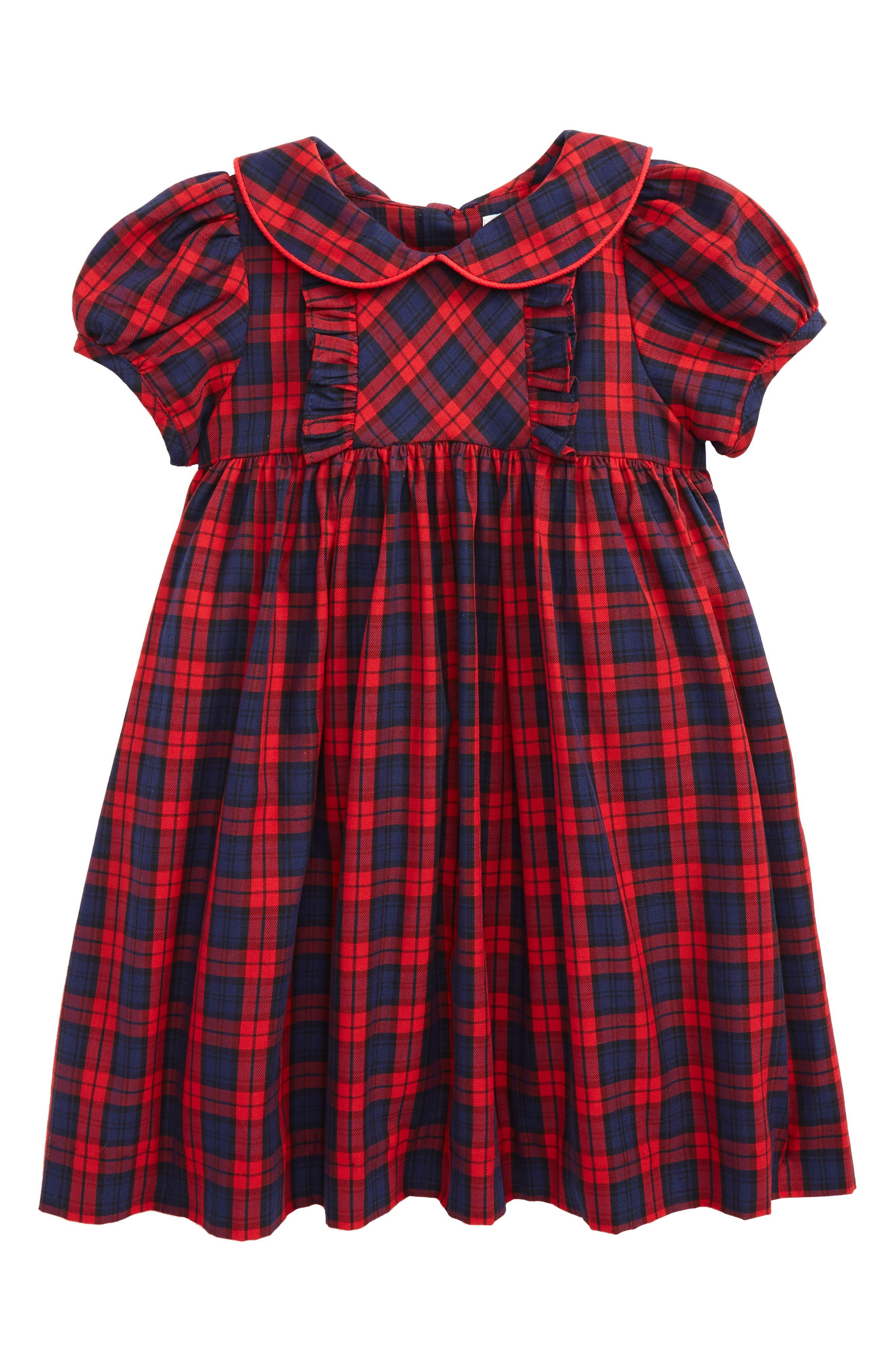 Plaid Dress,                         Main,                         color, Red