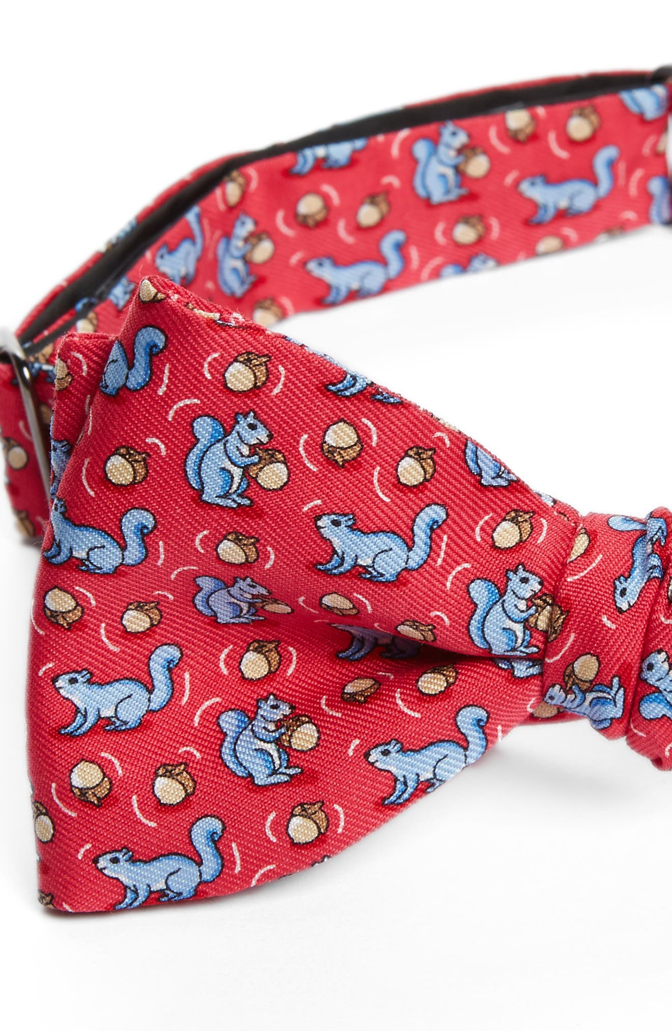 Squirrel Silk Bow Tie,                             Alternate thumbnail 3, color,                             Raspberry