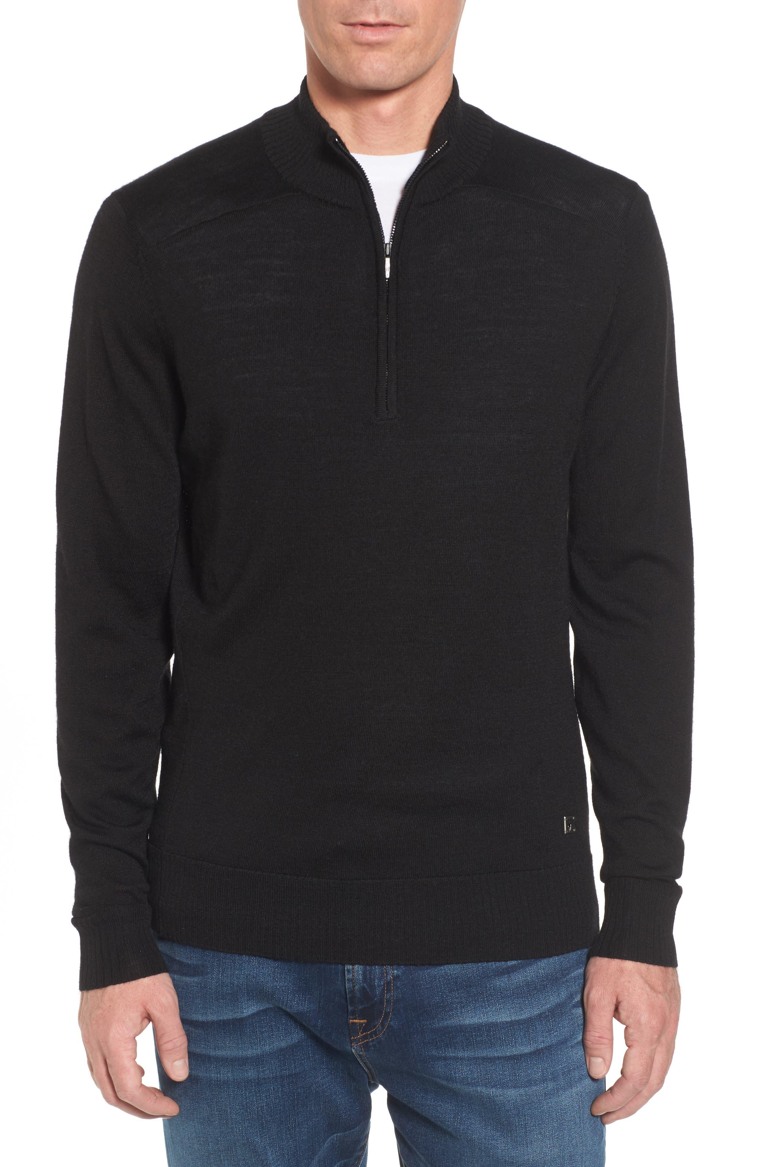 Kiva Ridge Merino Wool Blend Pullover,                             Main thumbnail 1, color,                             Black