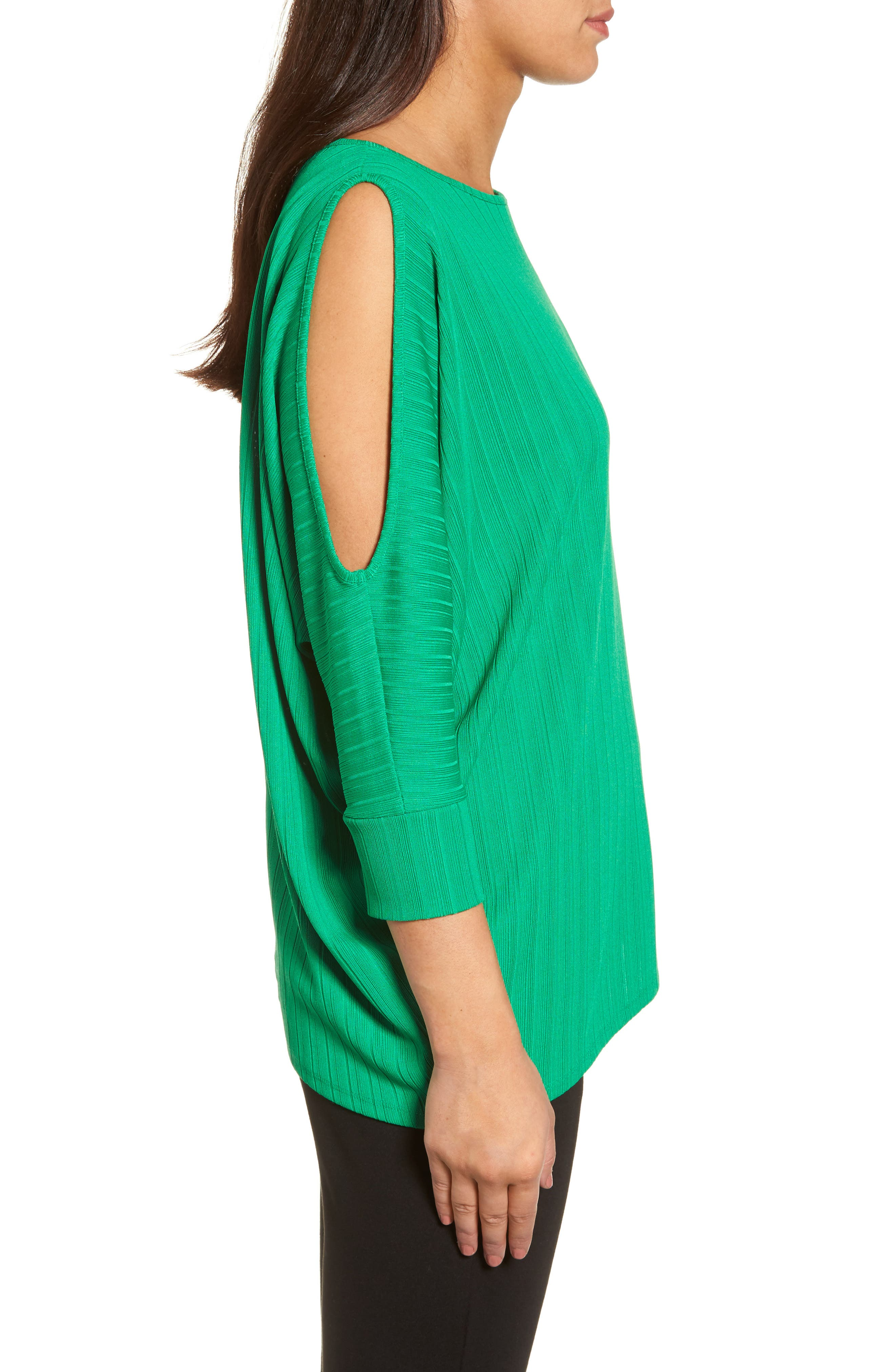 Ribbed Knit Cold Shoulder Top,                             Alternate thumbnail 3, color,                             Bright Amazon