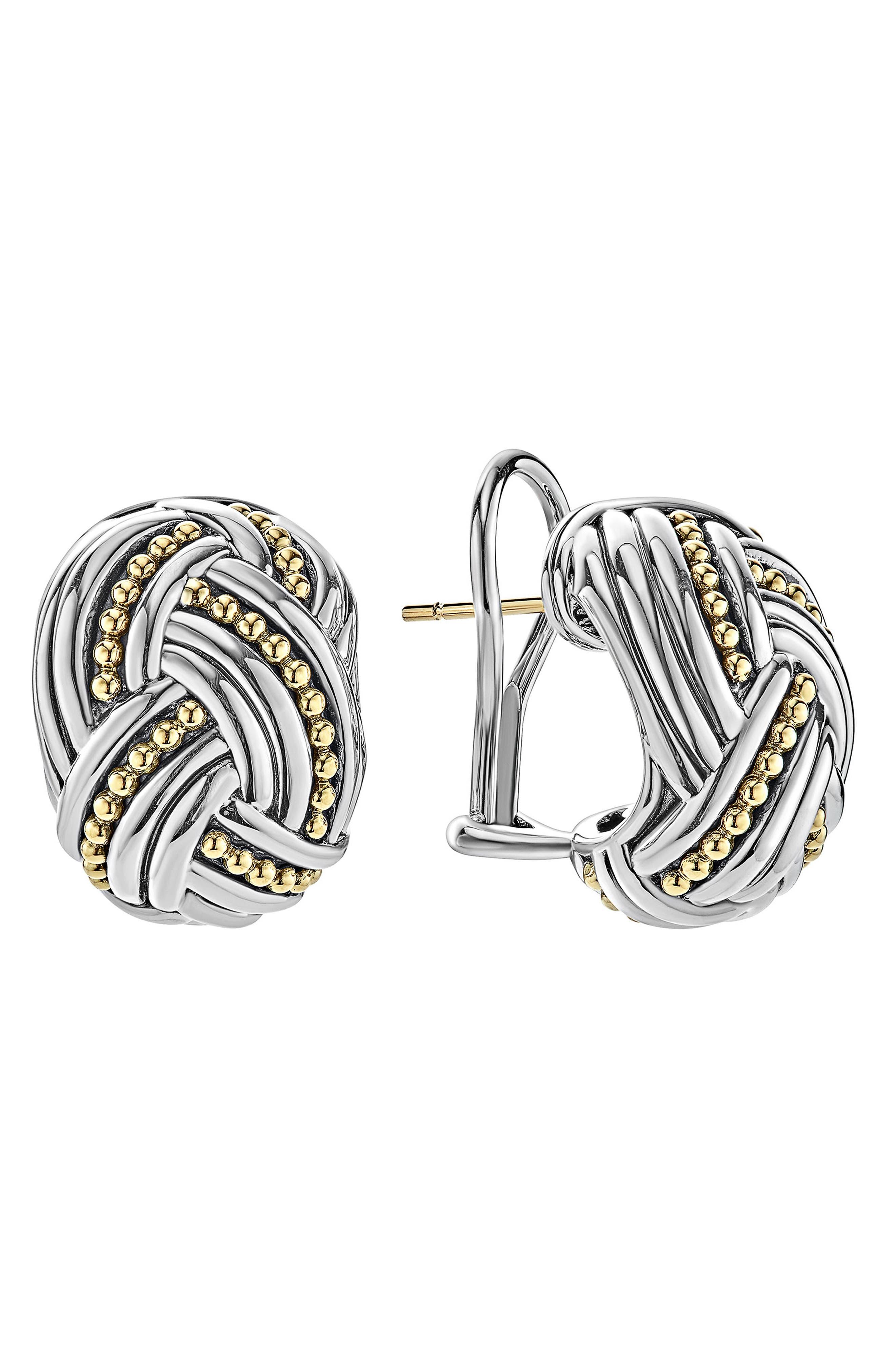 Torsade Rectangle Omega Clip Earrings,                             Alternate thumbnail 3, color,                             Silver/ Gold