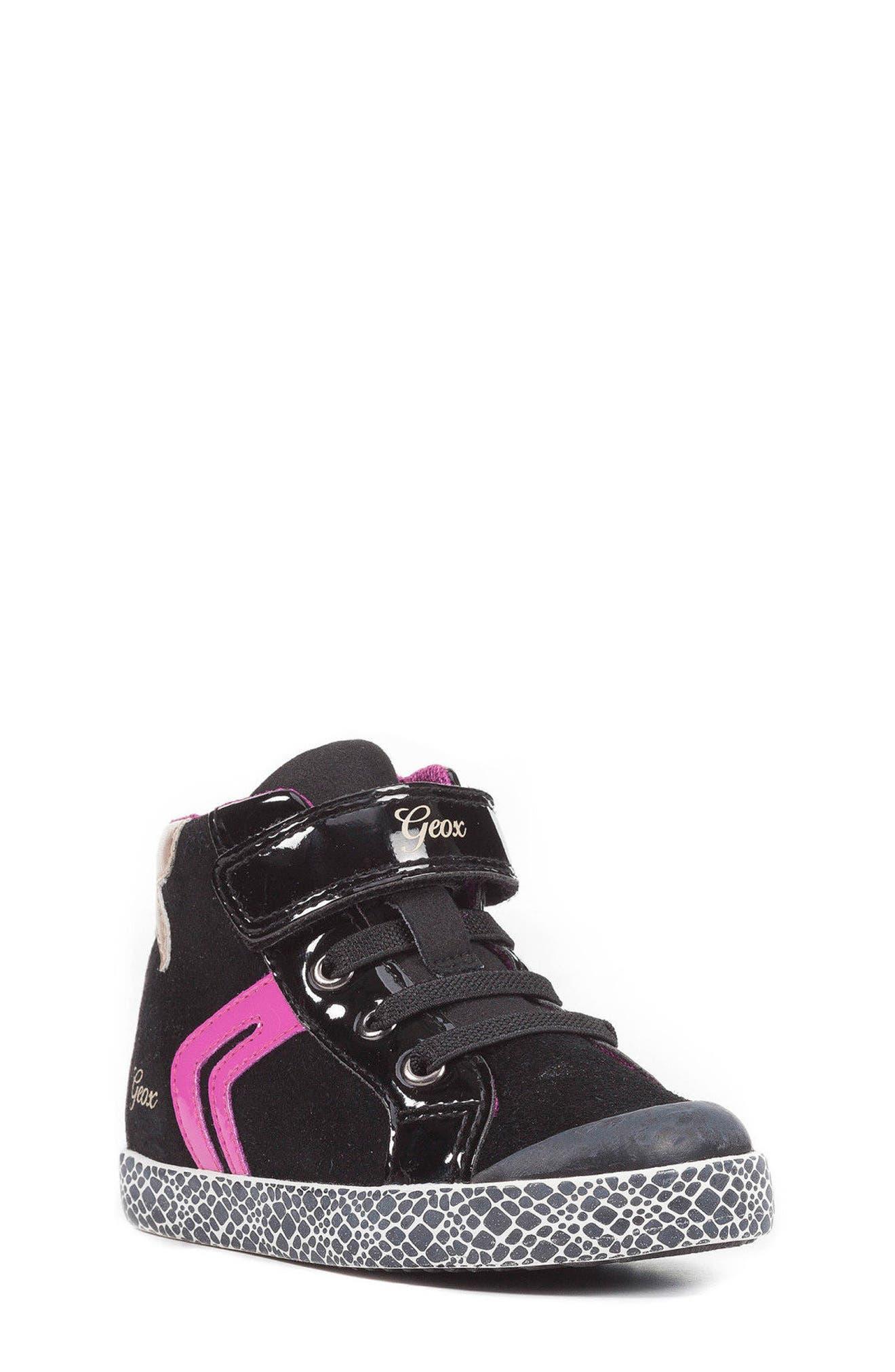Kiwi Girl High Top Sneaker,                             Main thumbnail 1, color,                             Black/ Cyclamen