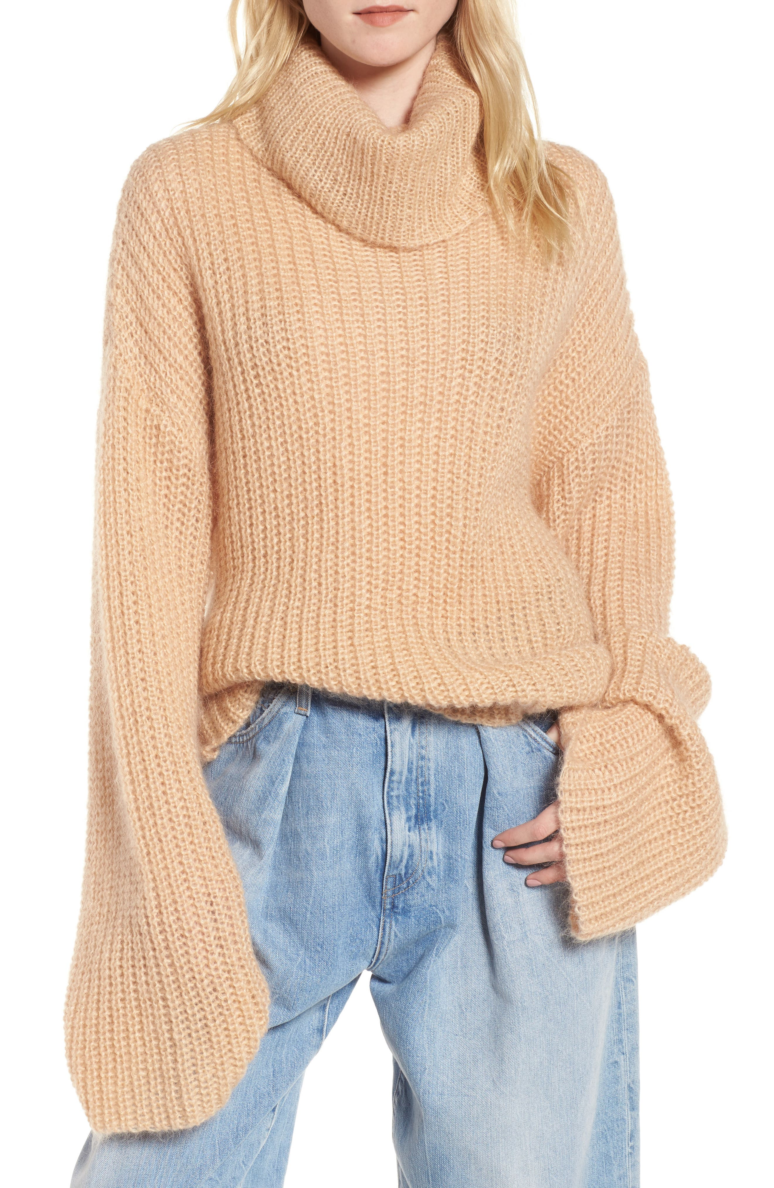 Cross Back Turtleneck Sweater,                         Main,                         color, Toasted Almond