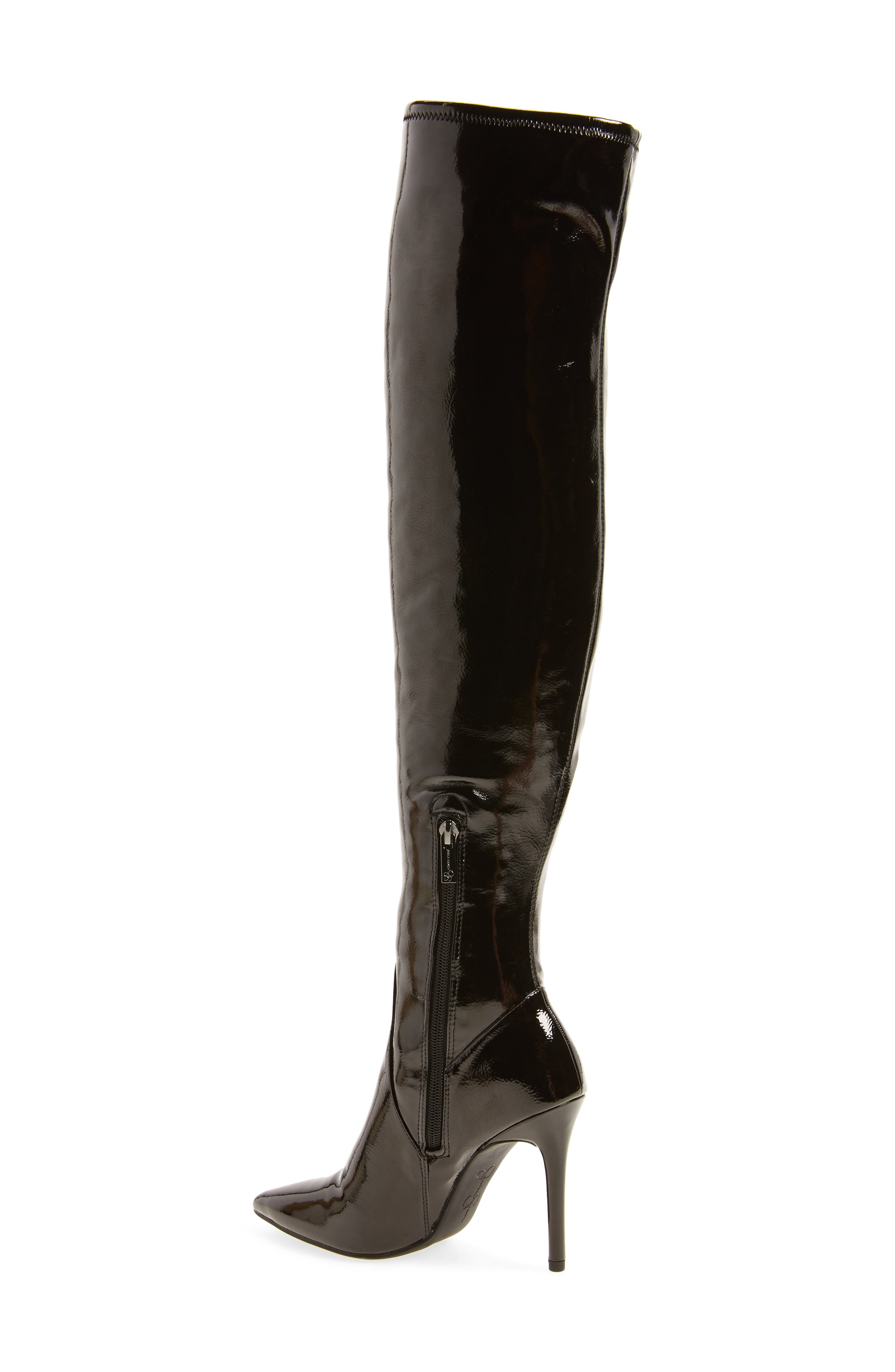 Loring Stretch Over the Knee Boot,                             Alternate thumbnail 2, color,                             Black Crinkle Patent