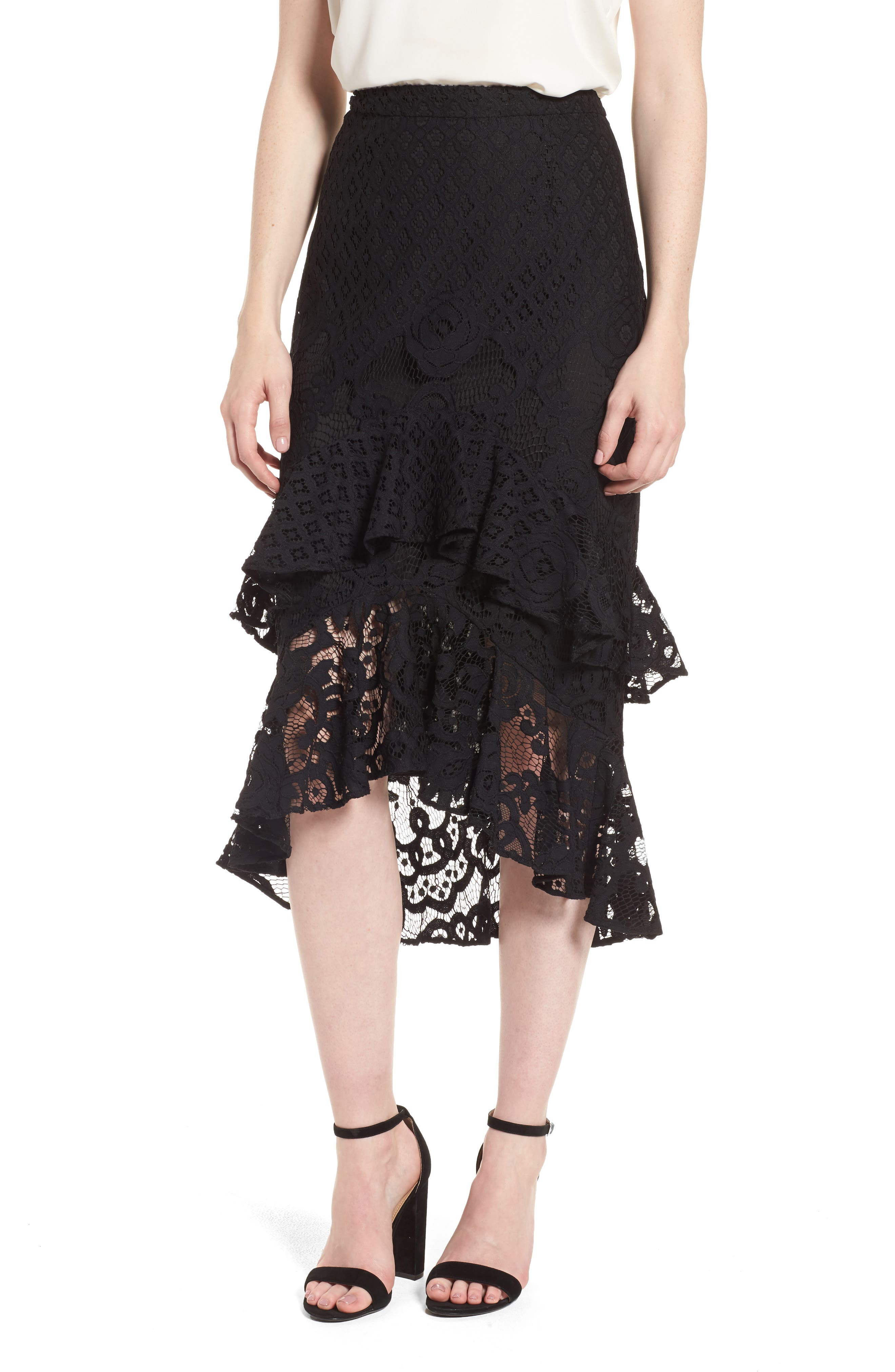 Tiered Lace Midi Skirt,                         Main,                         color, Black