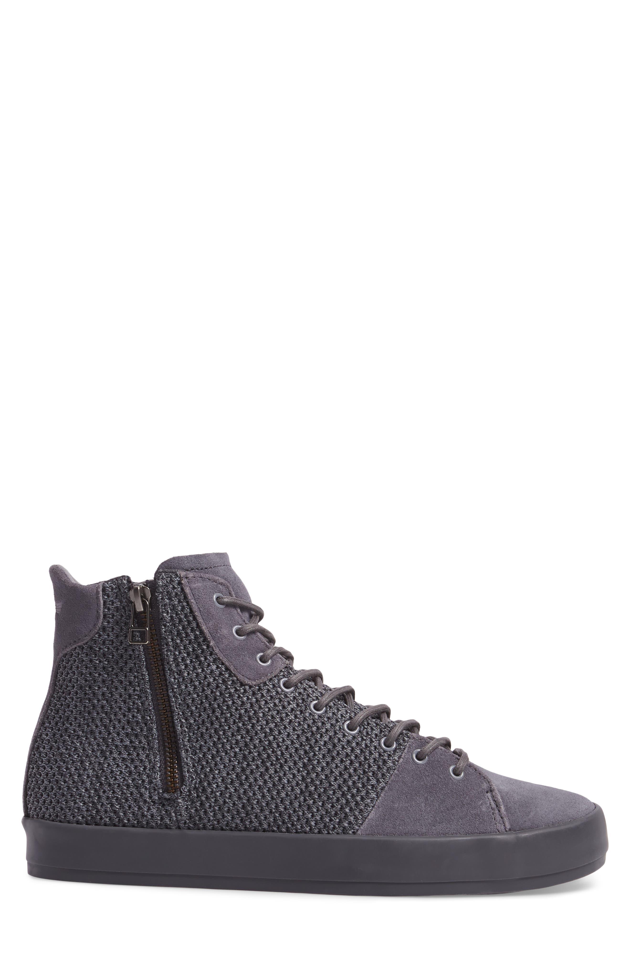 Carda Hi Sneaker,                             Alternate thumbnail 3, color,                             Smoke Leather