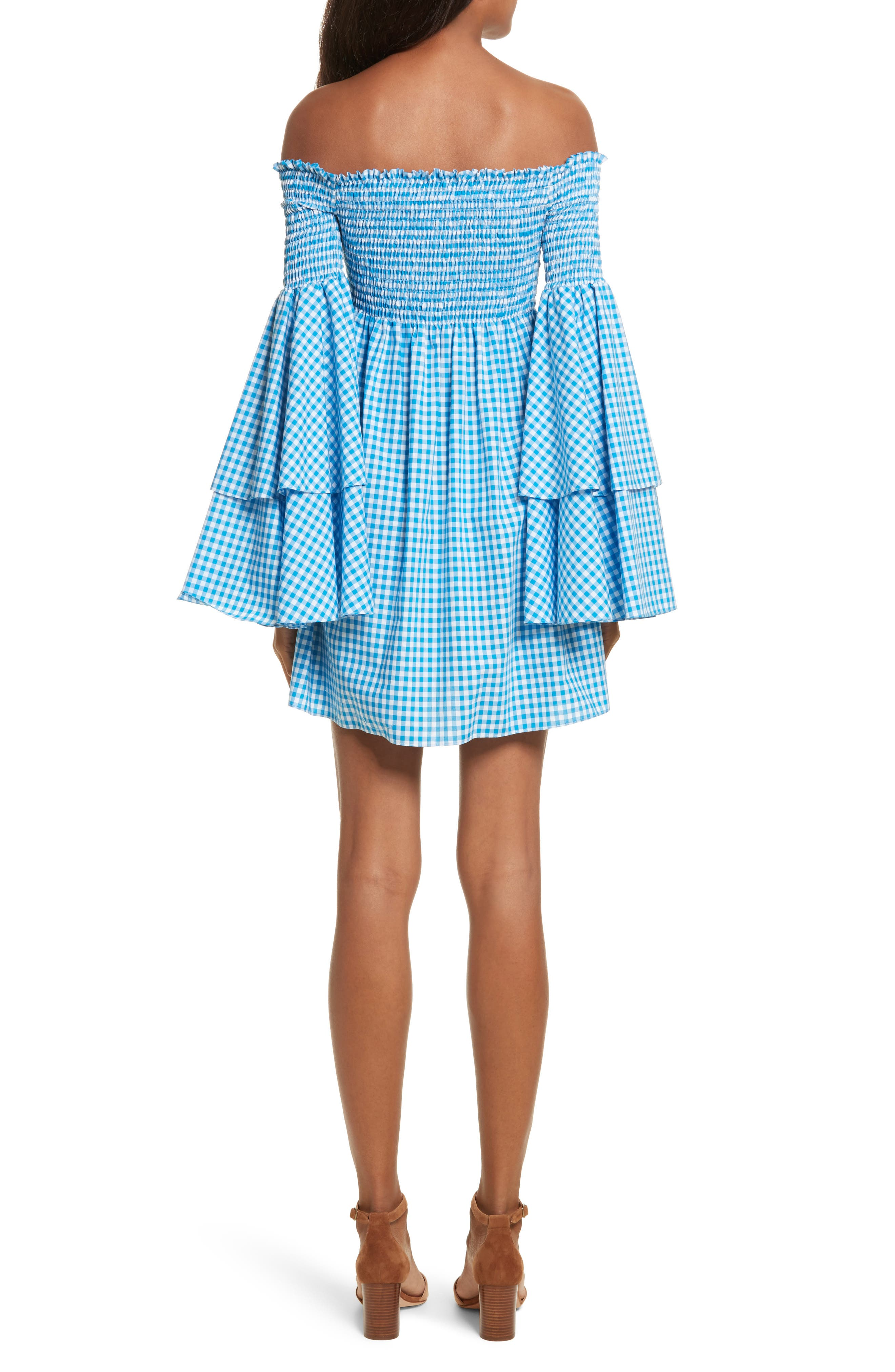 Appolonia Gingham Off the Shoulder Dress,                             Alternate thumbnail 2, color,                             Turquoise