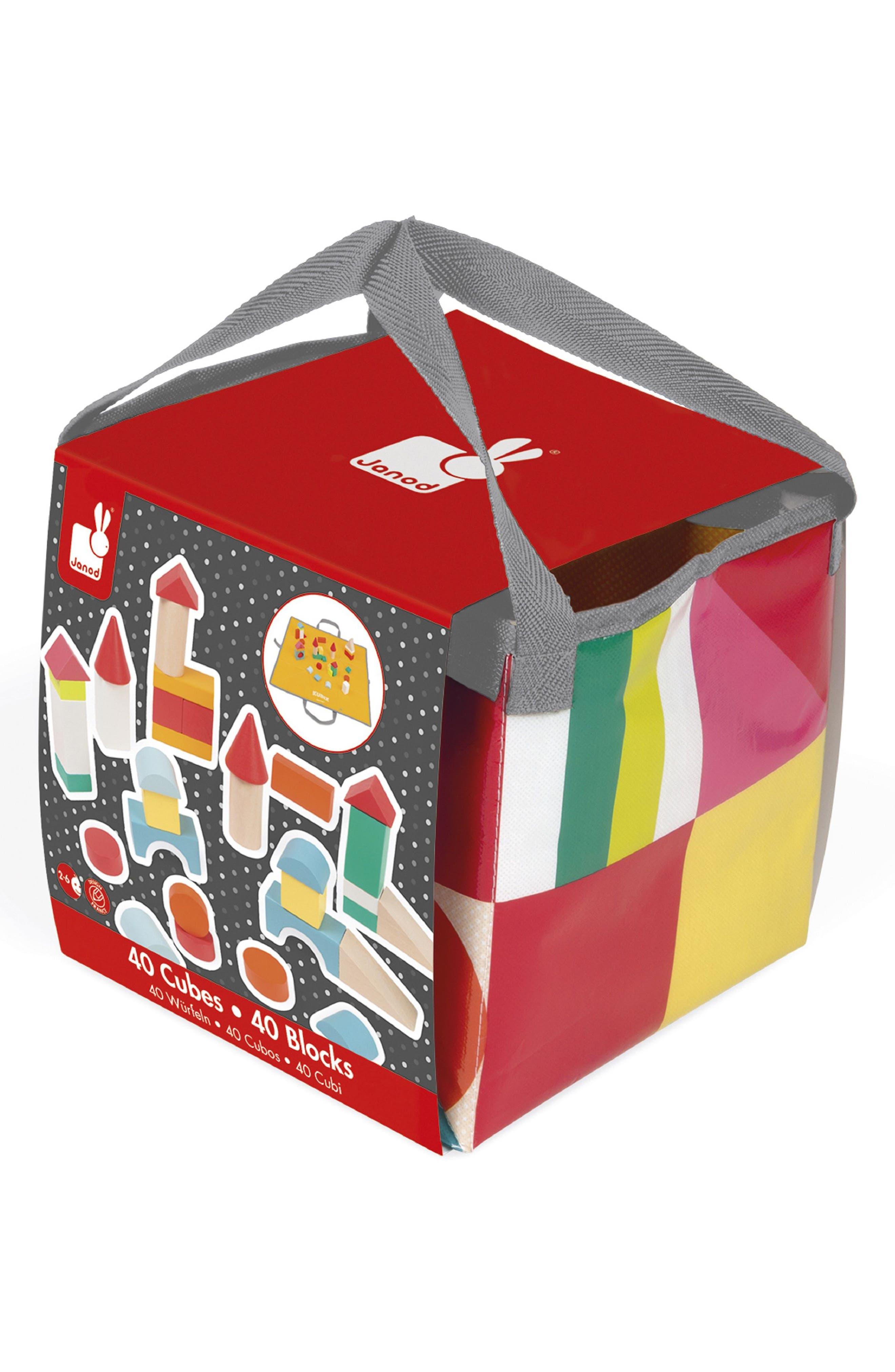 Kubix 41-Piece Block & Play Mat Set,                             Main thumbnail 1, color,                             Red Multi