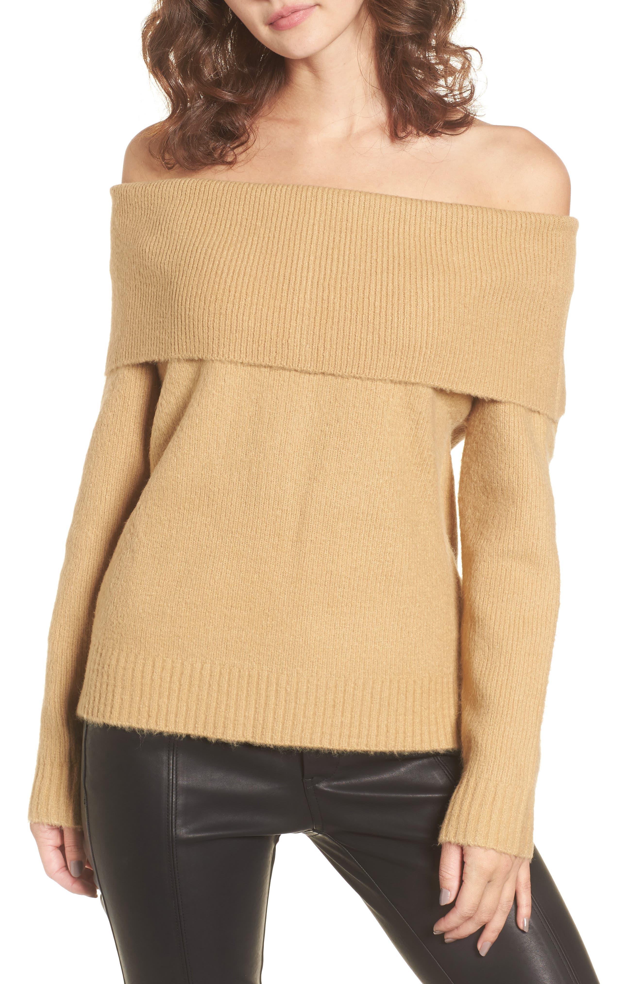 Off the Shoulder Sweater,                         Main,                         color, Camel