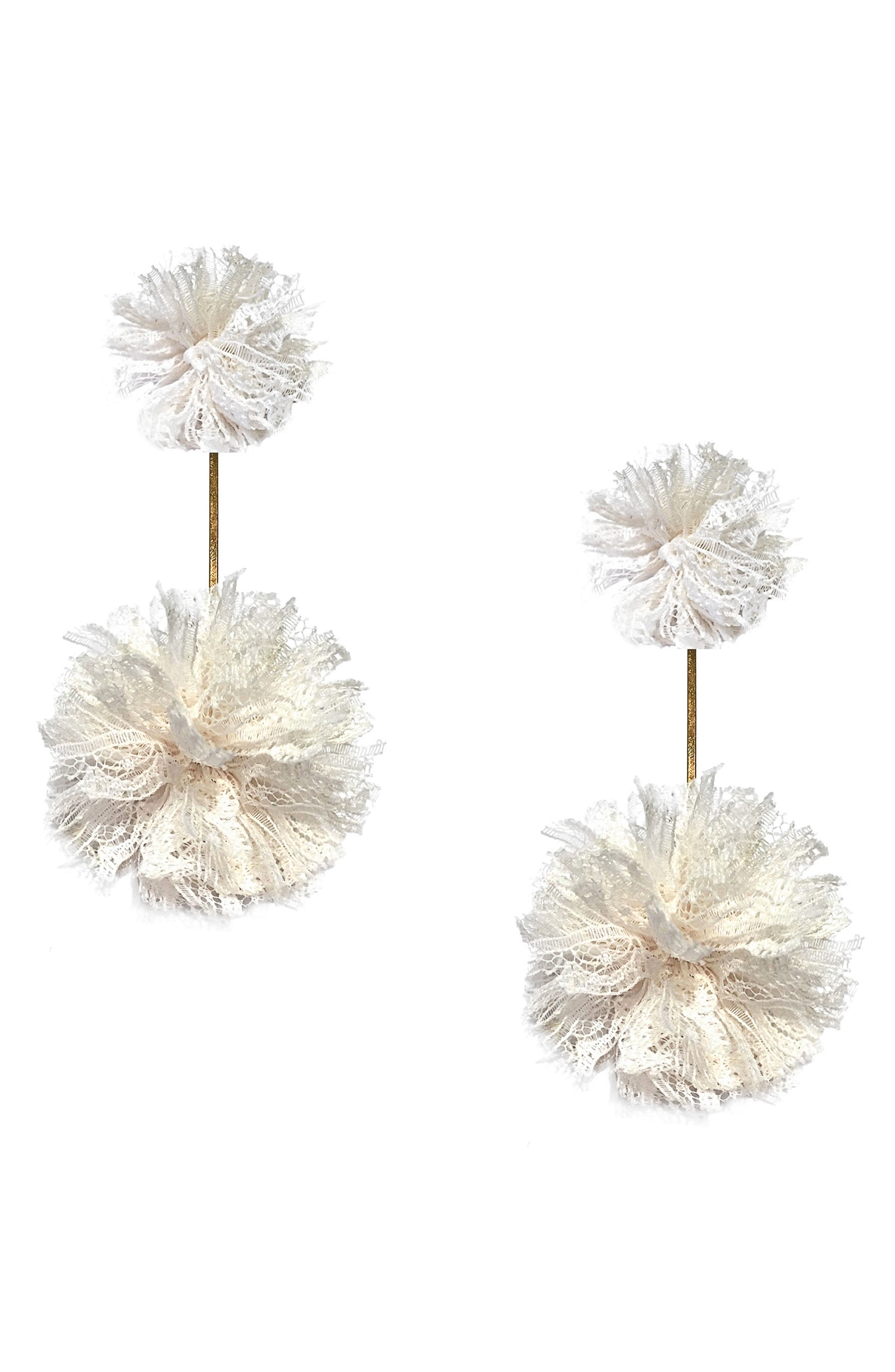 Double Lace Pom Pom Earrings,                             Main thumbnail 1, color,                             Gold/ White