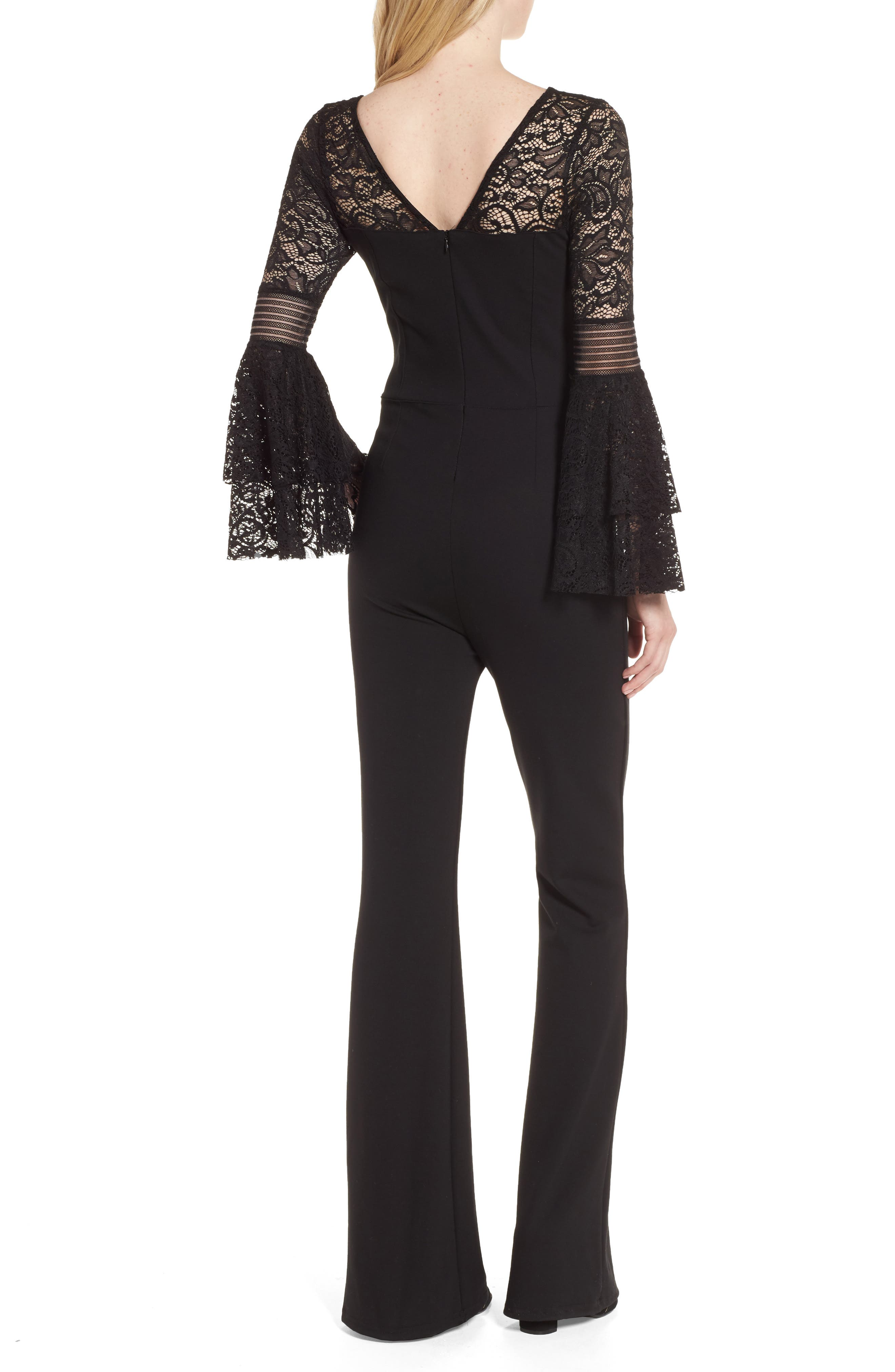 Floetry Lace Bell Sleeve Romper,                             Alternate thumbnail 2, color,                             Black