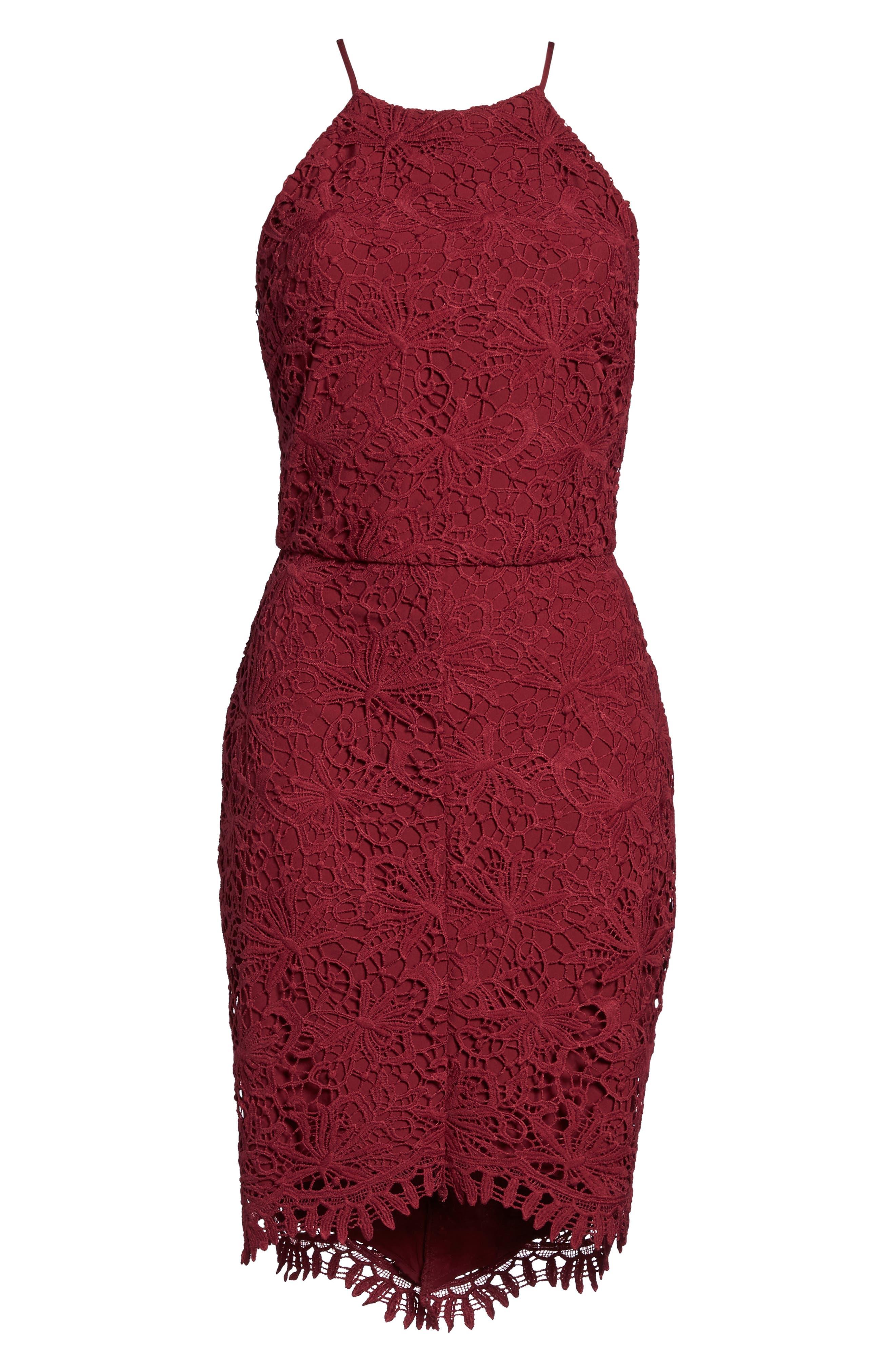 Louise Sheath Dress,                             Alternate thumbnail 6, color,                             Claret