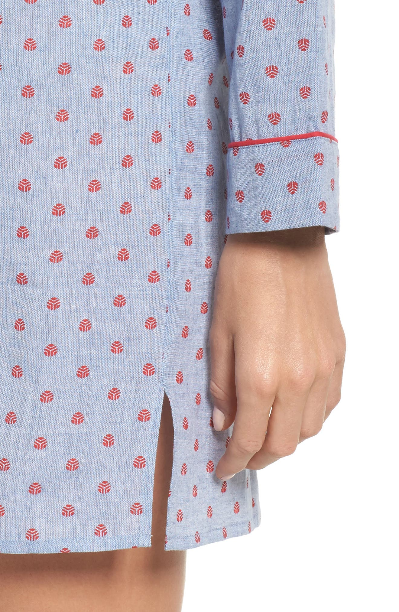 Alternate Image 4  - Loungerie Print Washed Cotton Sleep Shirt