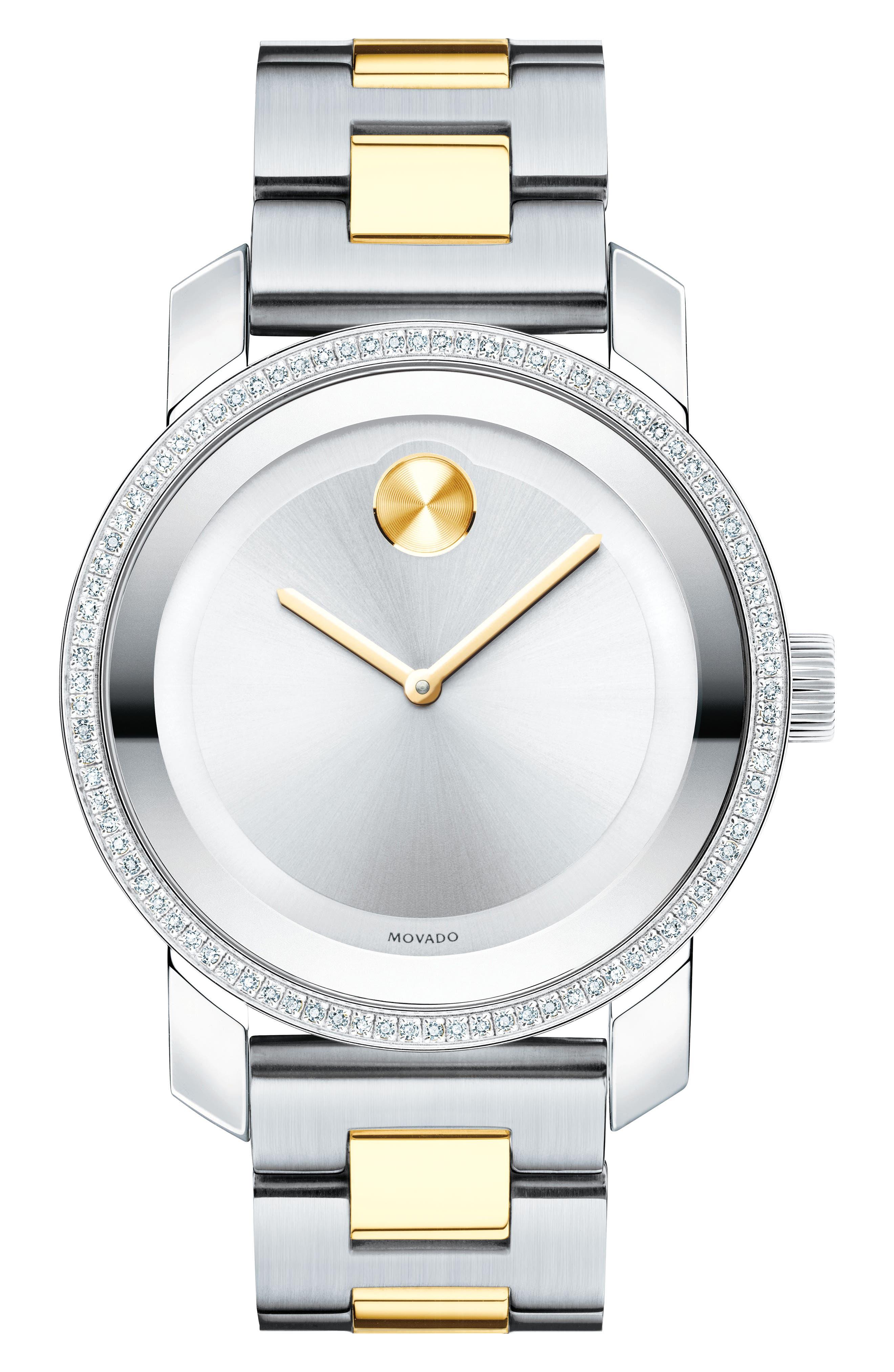 Bold Diamond Bracelet Watch, 36mm,                         Main,                         color, Silver/ Gold