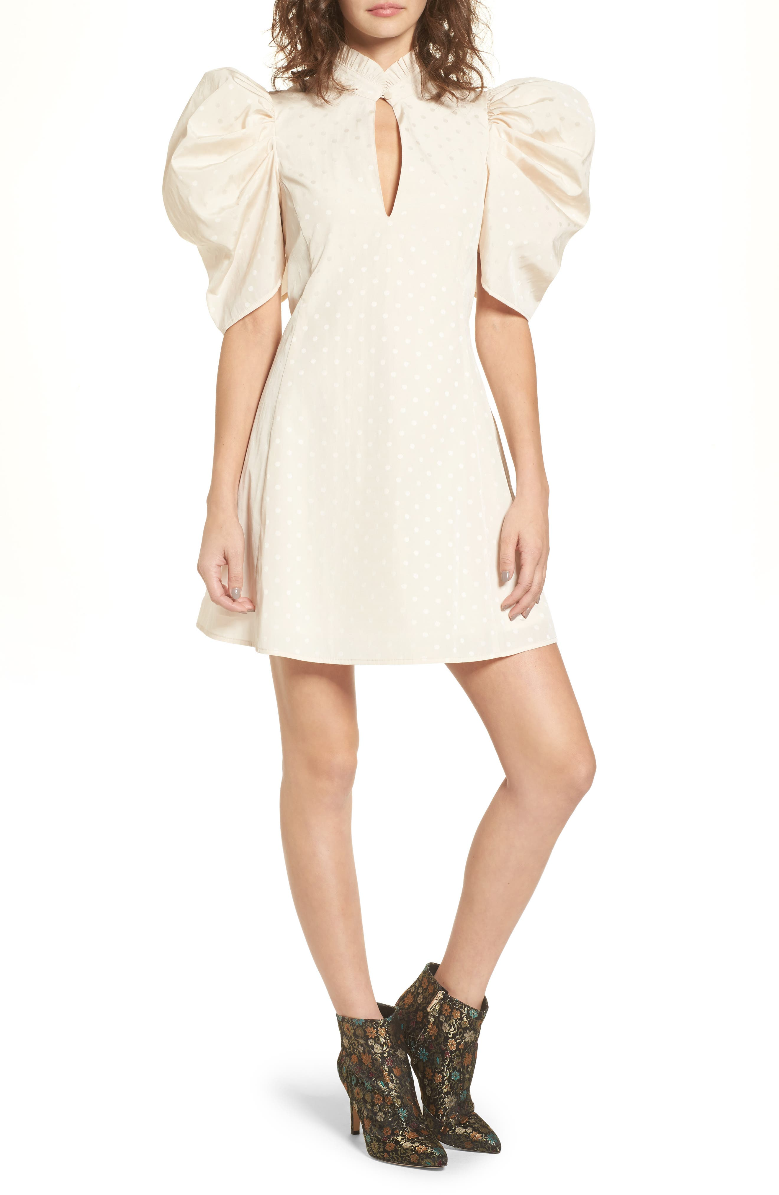 Puff Sleeve Dress,                         Main,                         color, Beige Morn