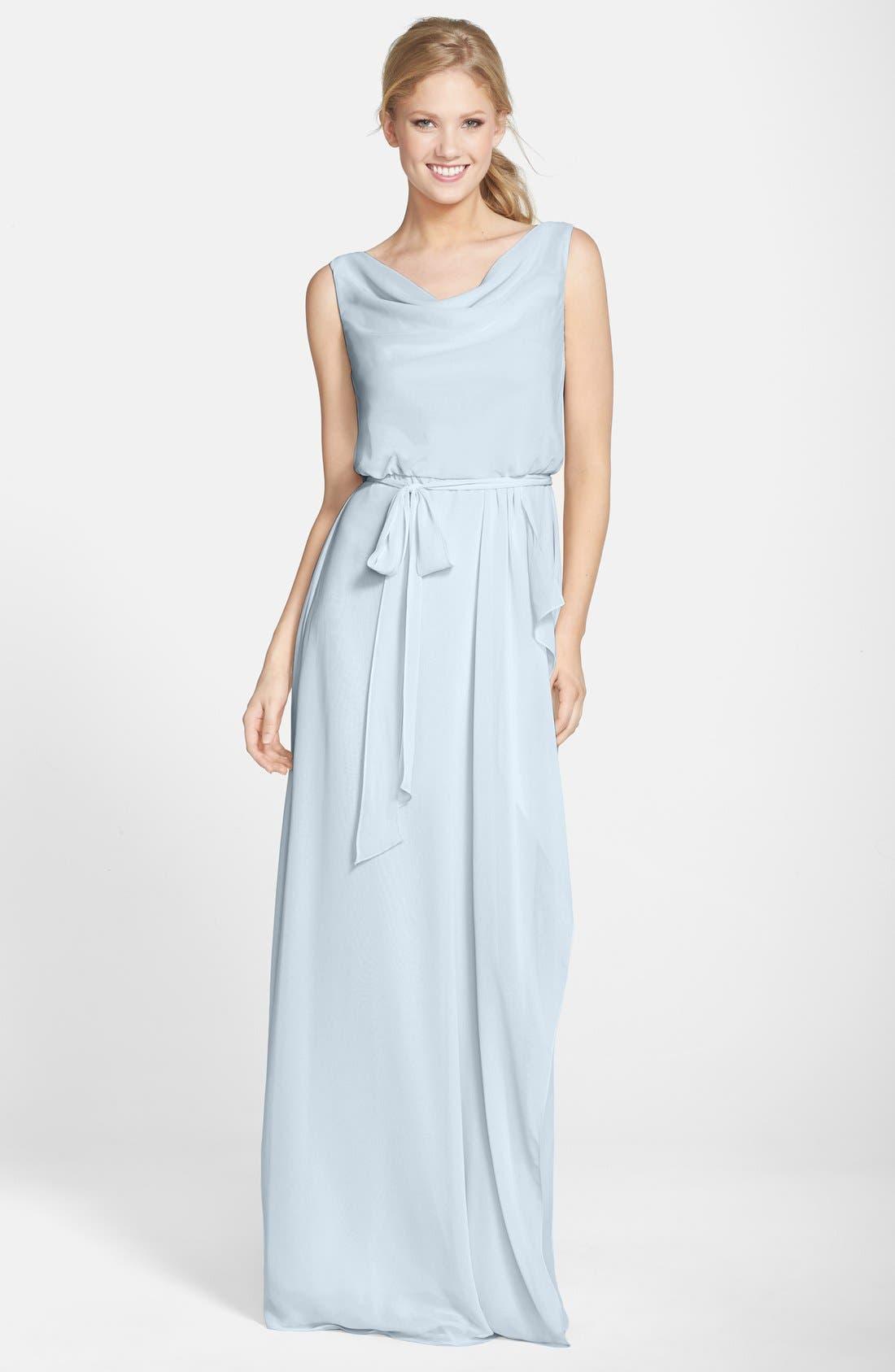 nouvelle AMSALE 'Kim' Drape Neck Wrap Skirt Chiffon Gown