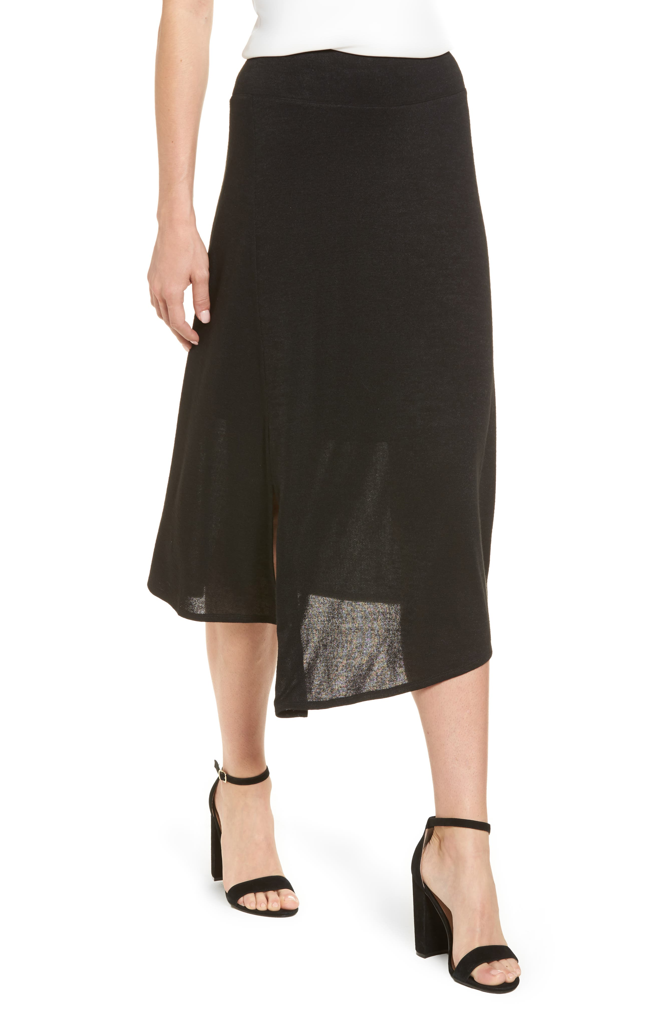 Nic + Zoe Every Occasion Faux Wrap Skirt,                             Alternate thumbnail 4, color,                             Black Onyx