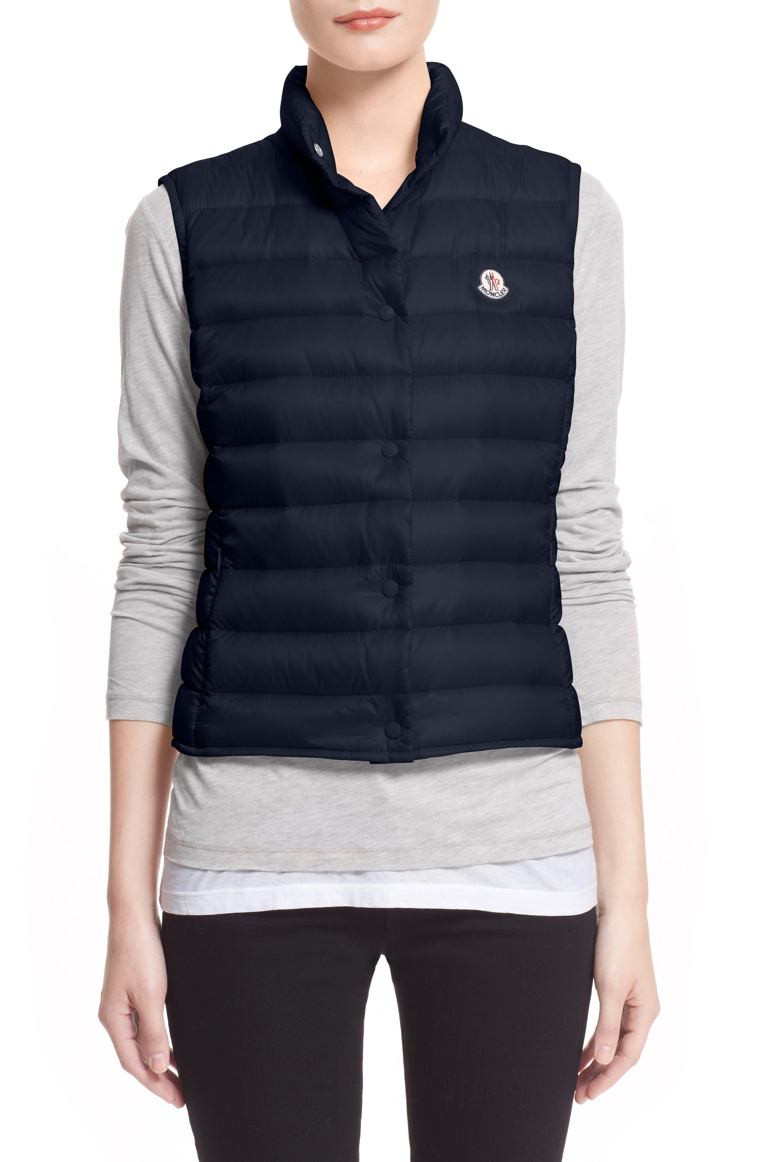 'Liane' Water Resistant Short Down Vest,                         Main,                         color, Navy