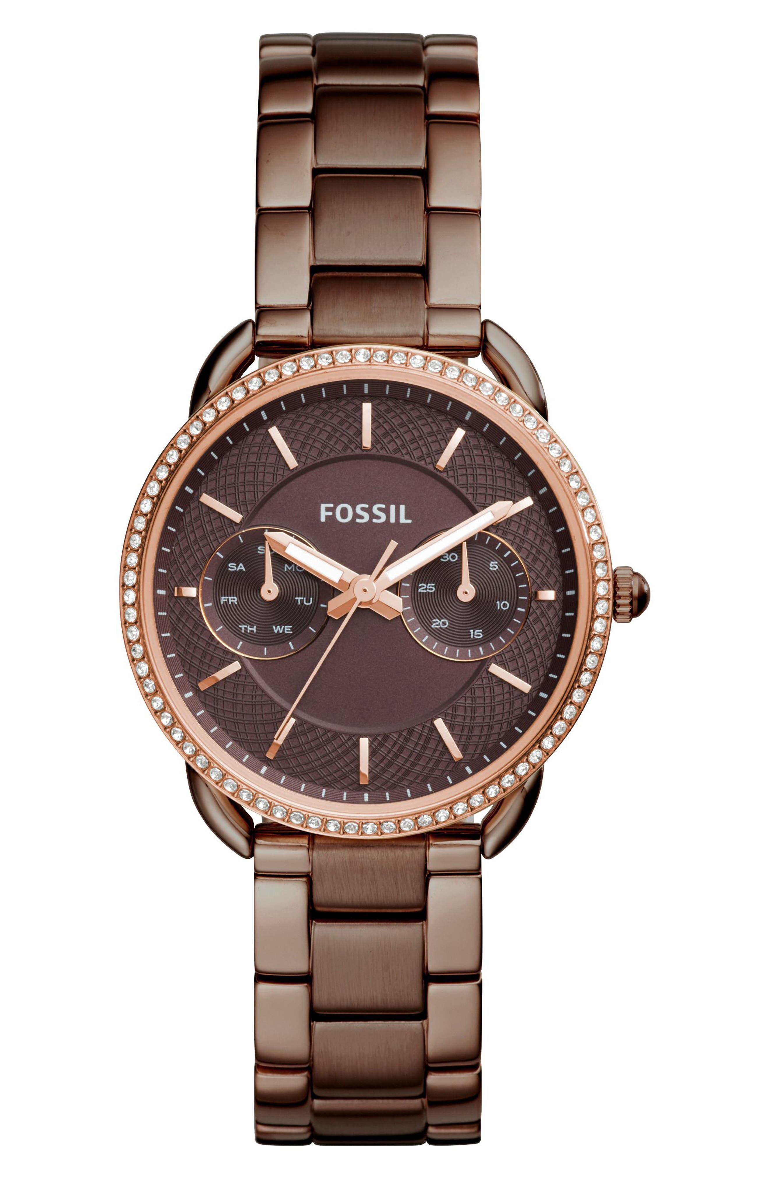 Tailor Crystal Multifunction Bracelet Watch, 35mm,                         Main,                         color, Brown
