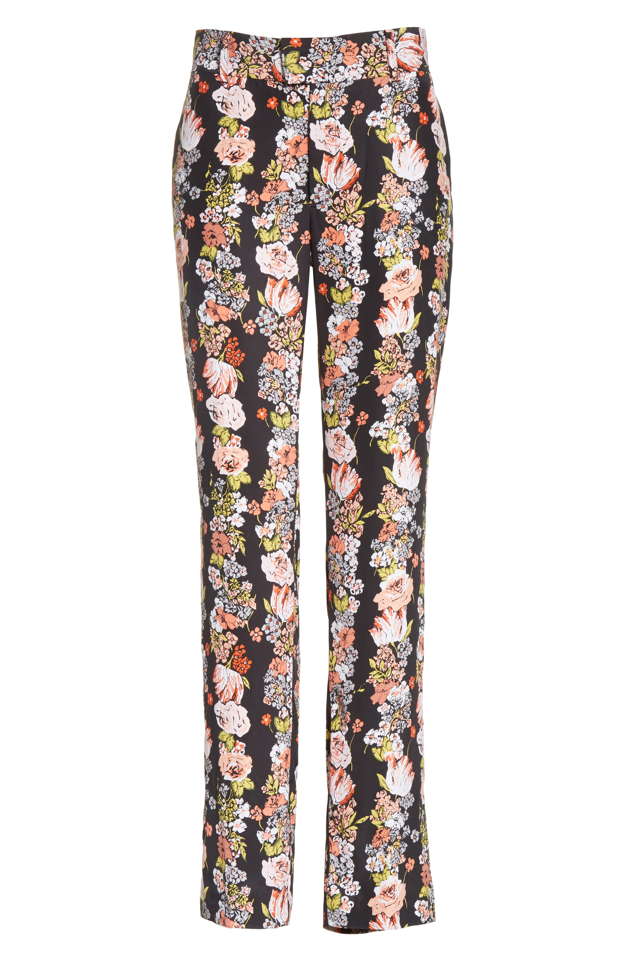 Florence Floral Silk Trousers,                             Alternate thumbnail 6, color,                             True Black Multi