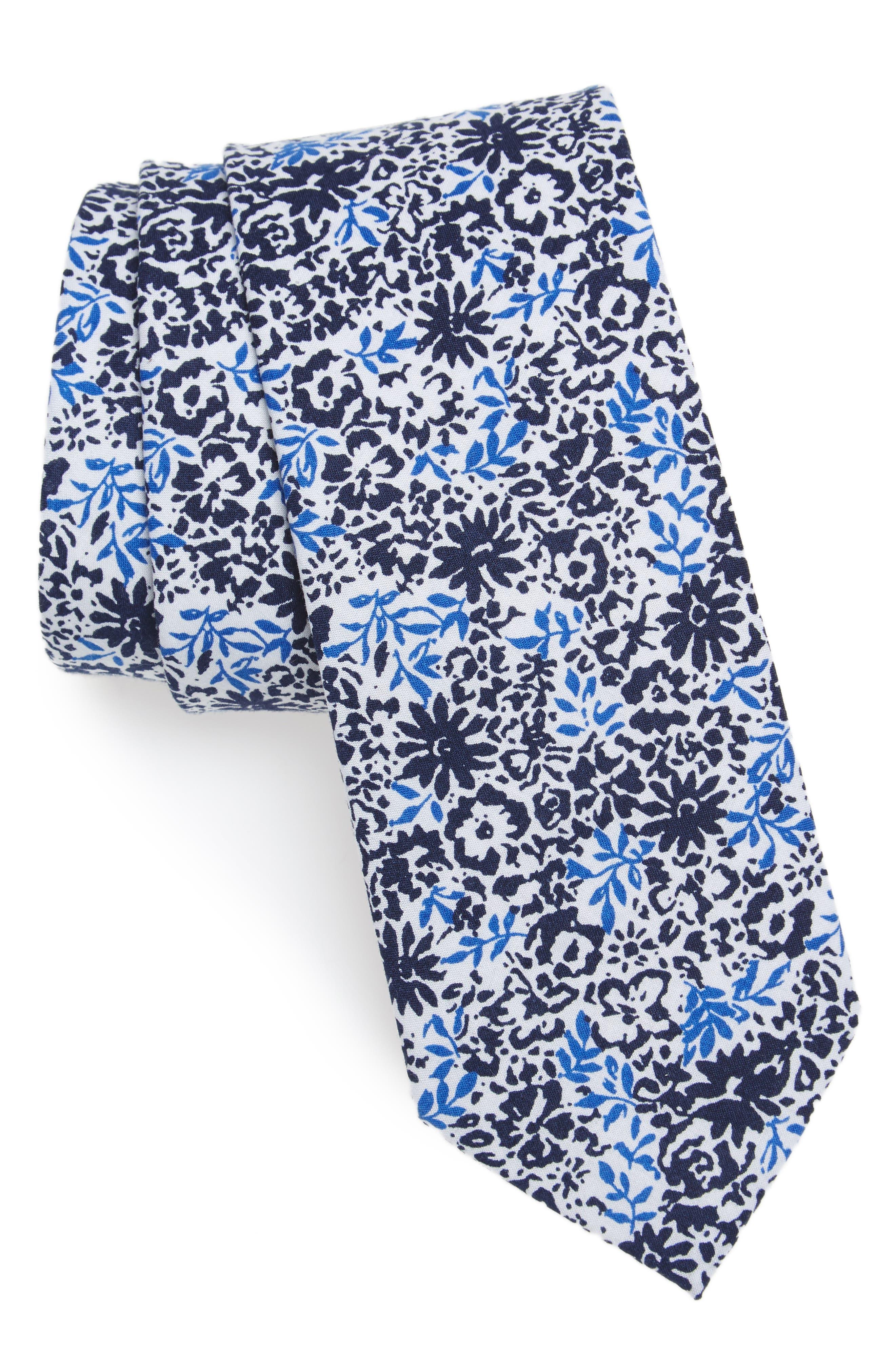 Grace Floral Print Cotton Skinny Tie,                         Main,                         color, Navy