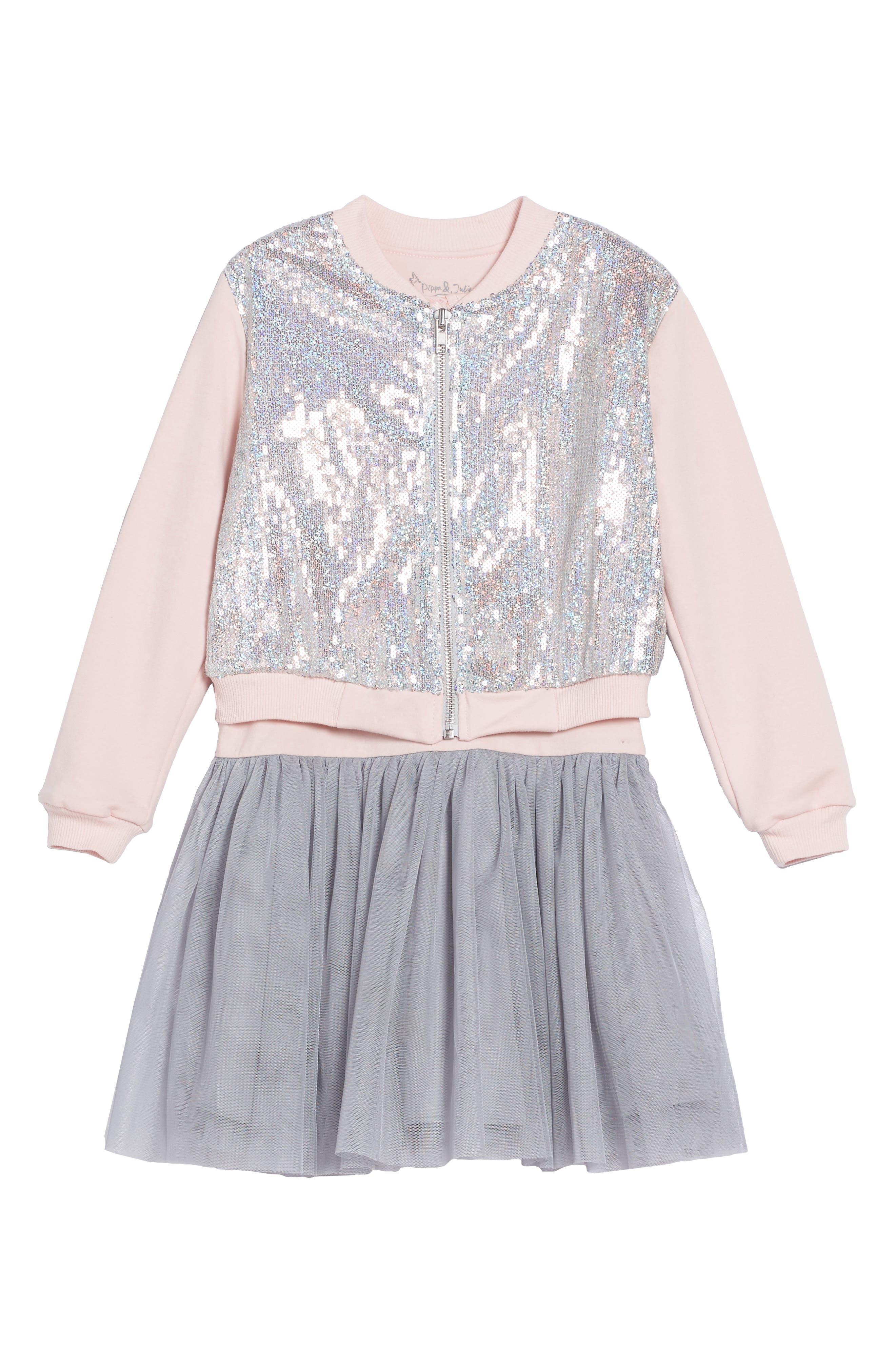 Tank Dress & Sequin Bomber Jacket Set,                             Main thumbnail 1, color,                             Silver/ Pink