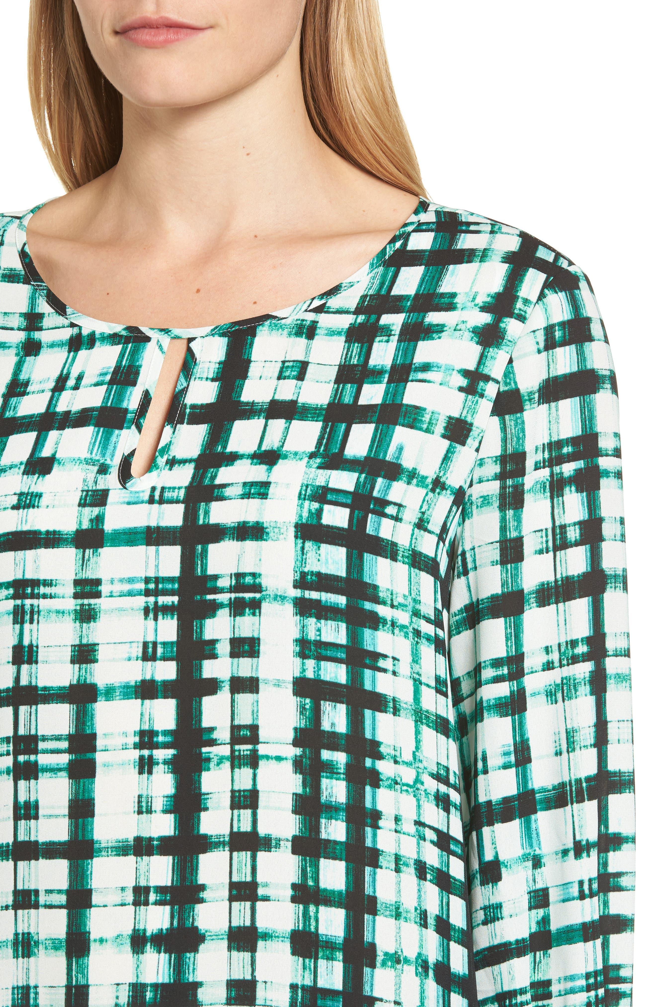 Plaid Ruffle Sleeve Blouse,                             Alternate thumbnail 4, color,                             Bright Amazon