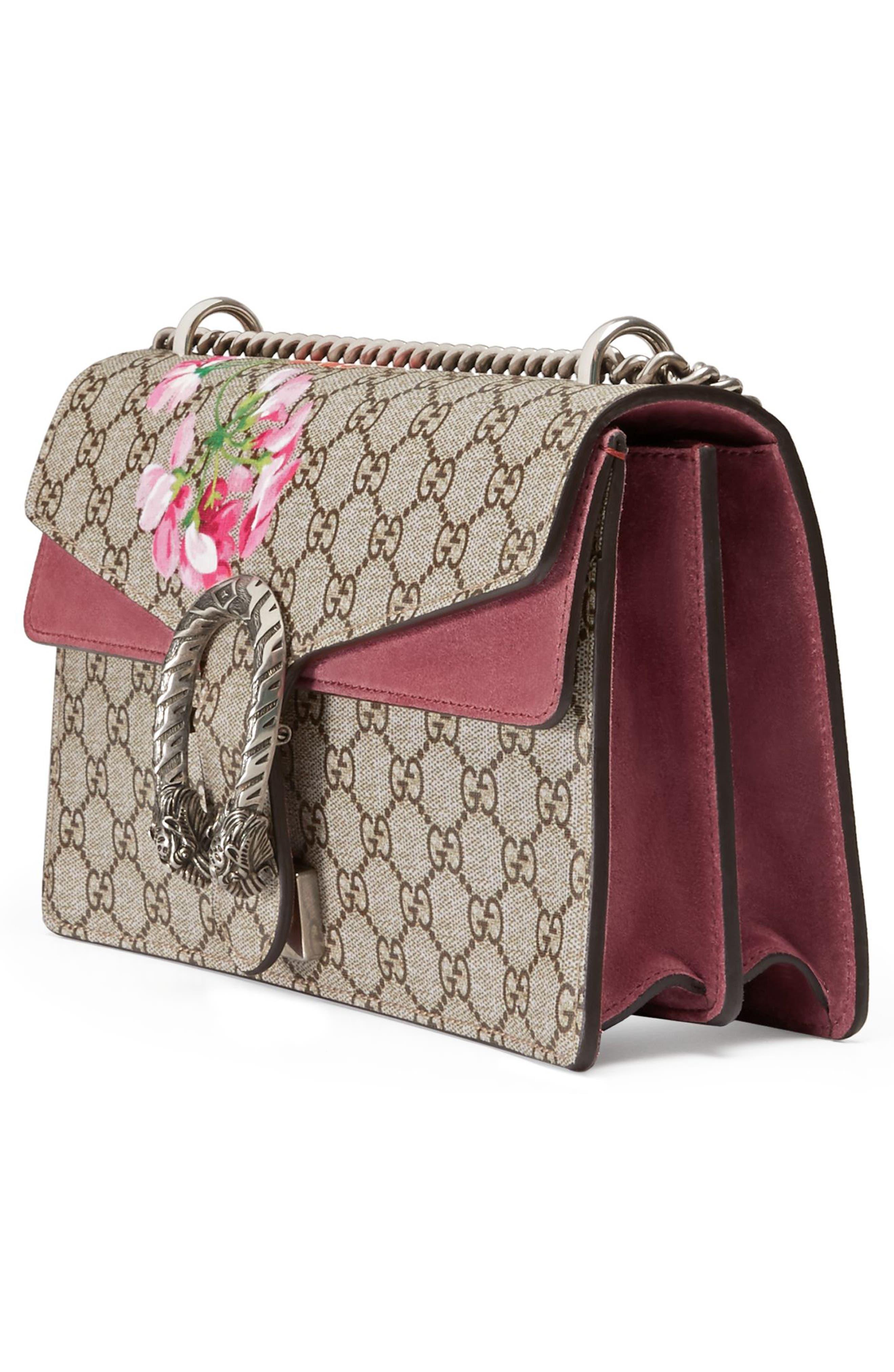 Small Dionysus Floral GG Supreme Canvas Shoulder Bag,                             Alternate thumbnail 4, color,                             Beige Ebony/ Dry Rose