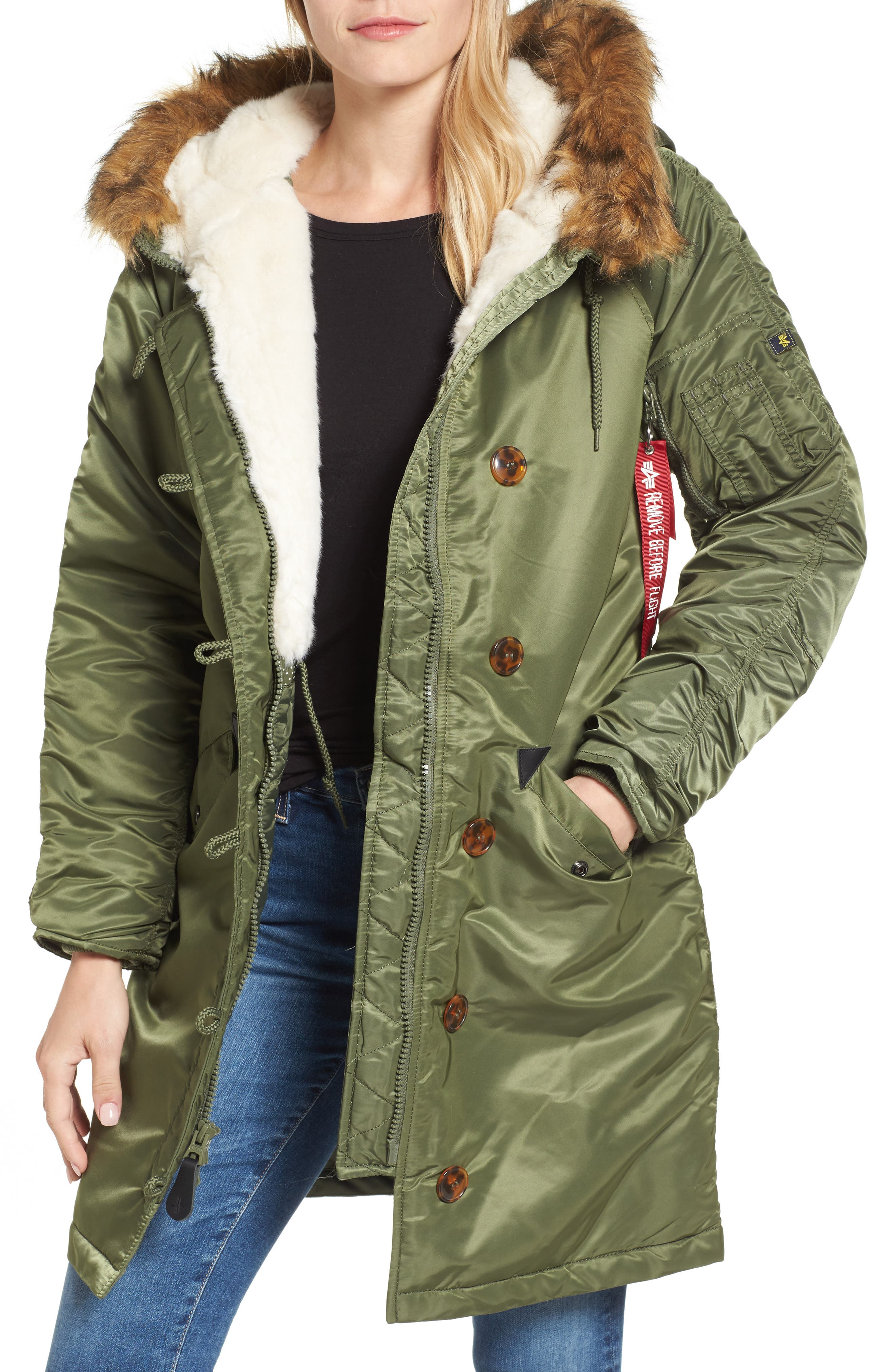 Elyse Water Resistant Winter Snorkel Parka with Faux-Fur Trim,                             Main thumbnail 1, color,                             Sage Green