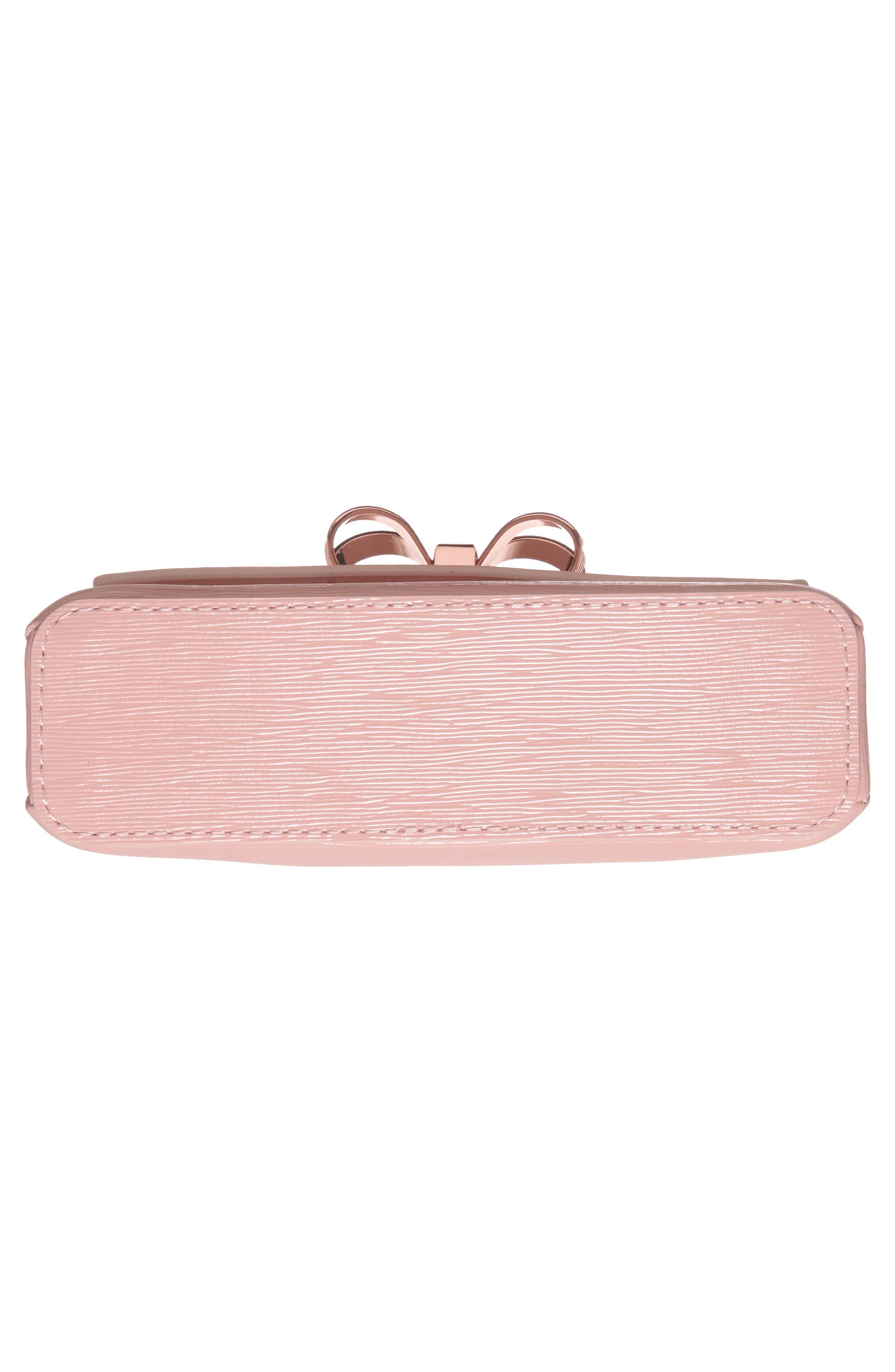 Loopa Bow Mini Leather Crossbody Bag,                             Alternate thumbnail 6, color,                             Light Pink